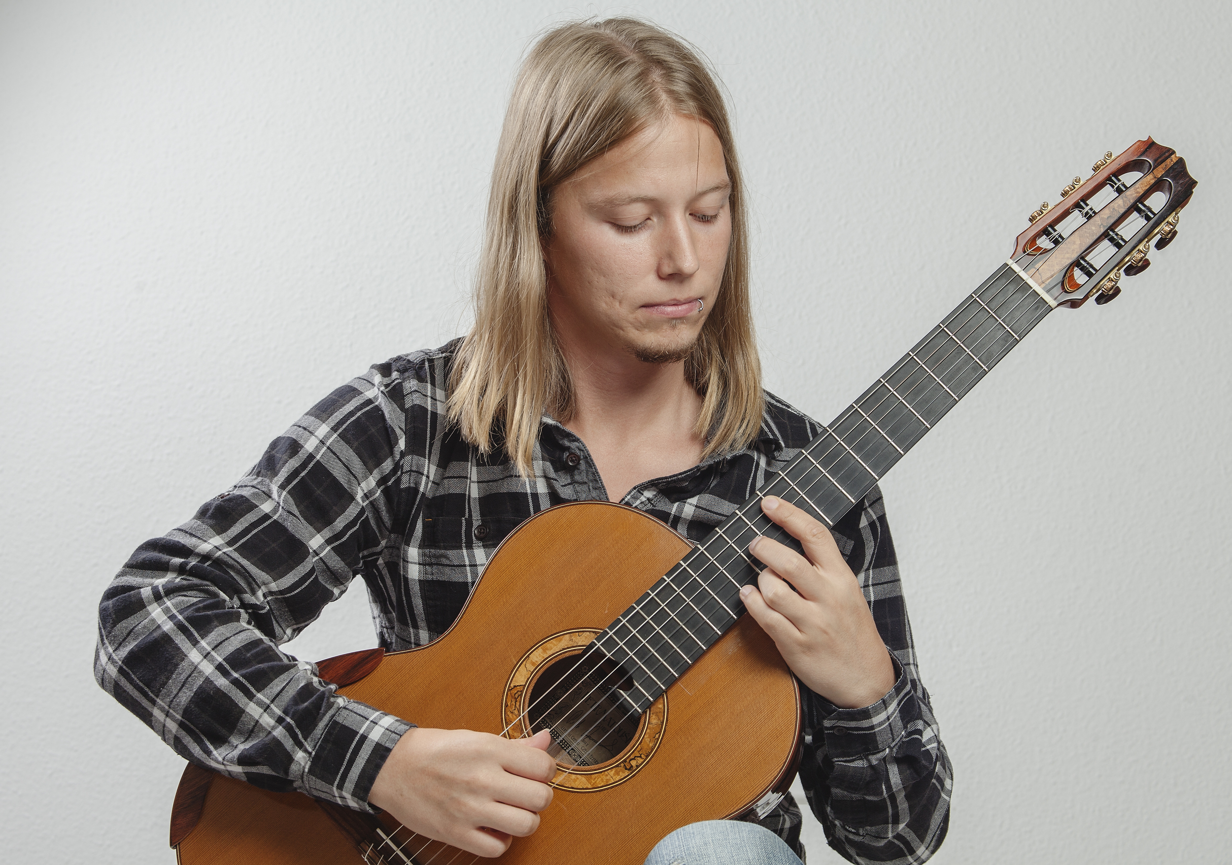 Guitar and grey background