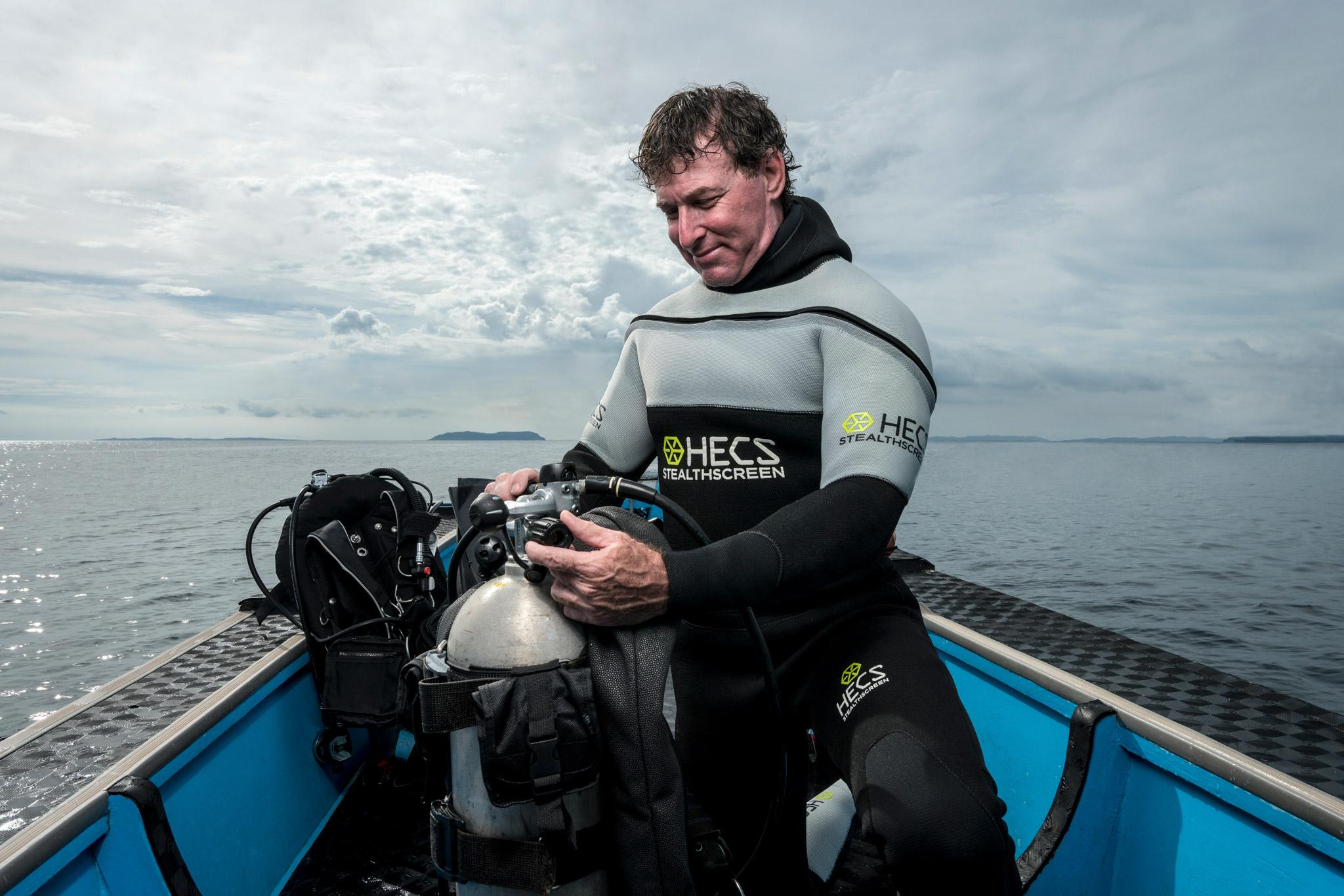 Lee Goldman in his HECS semi-dry scuba suit.