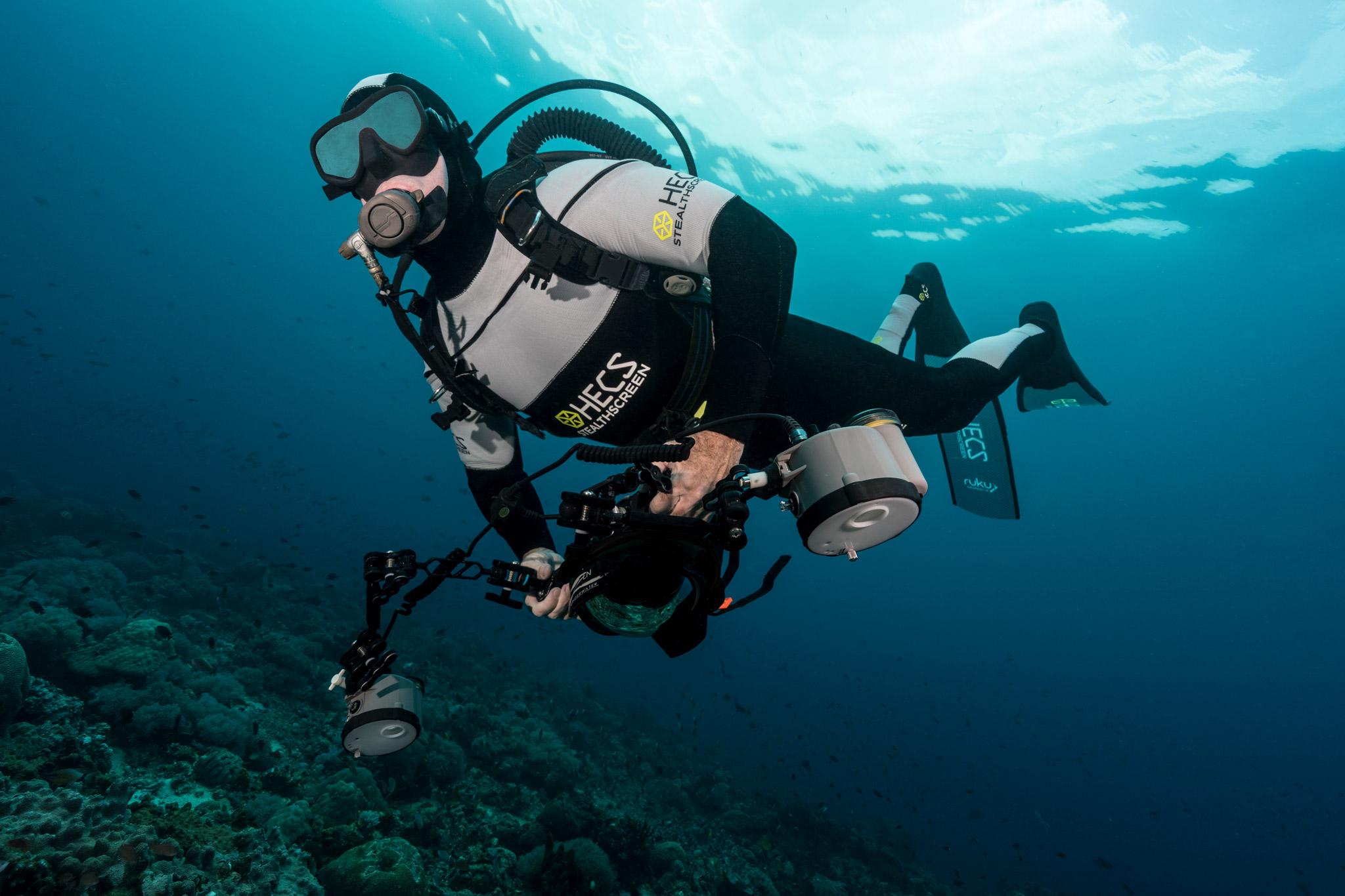 HECS semi-dry scuba suit against the surface.