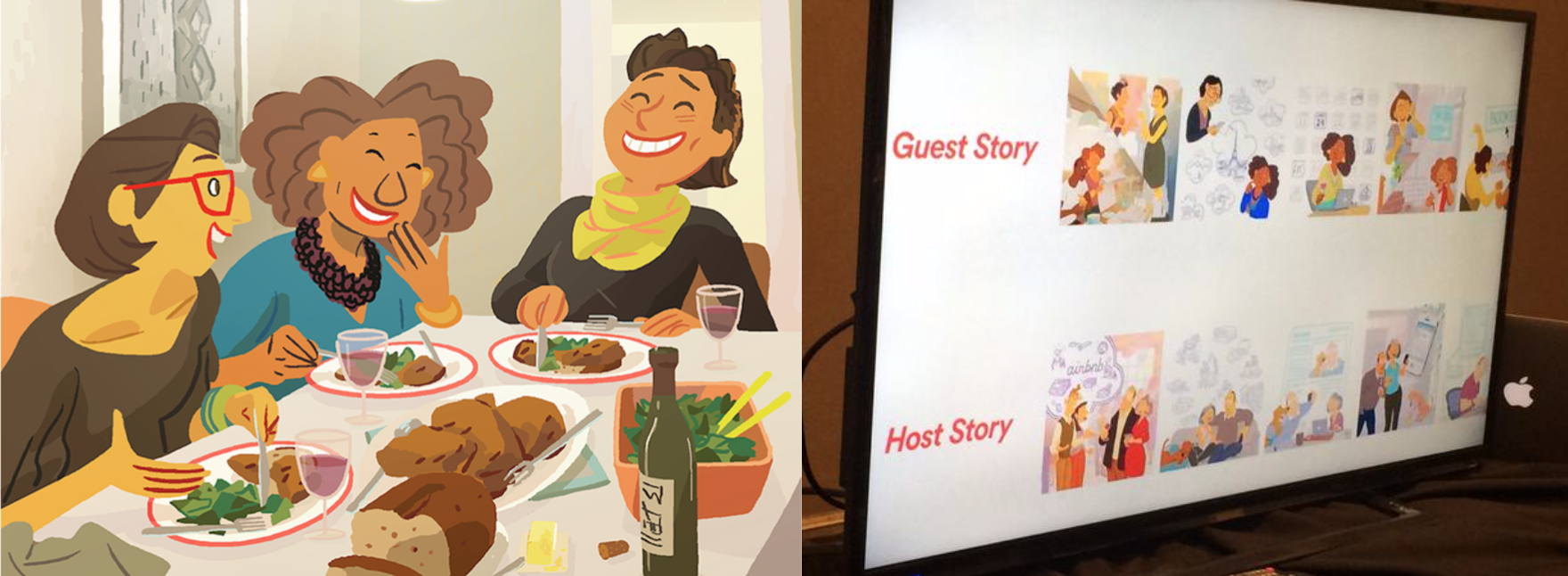 Airbnb storyboards by Pixar animator Nick Sung. Notice that two stories are shown here: one from the point of view of the guest, and one from that of the host.