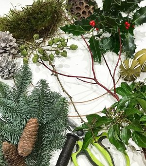 Seasonal materials for a door wreath. Foliages and accessories may vary depending on availability when sourcing materials,