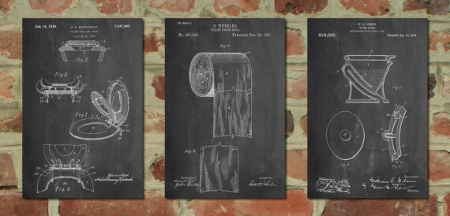 Group of 3 Bathroom Art Patent Posters from  Patent Prints