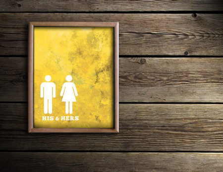 His & Hers Bathroom Art by  DaphneGraphics