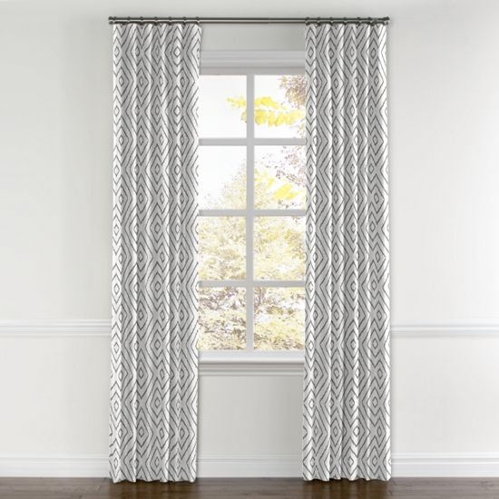 White & Gray Diamond Curtains  from Loom Decor