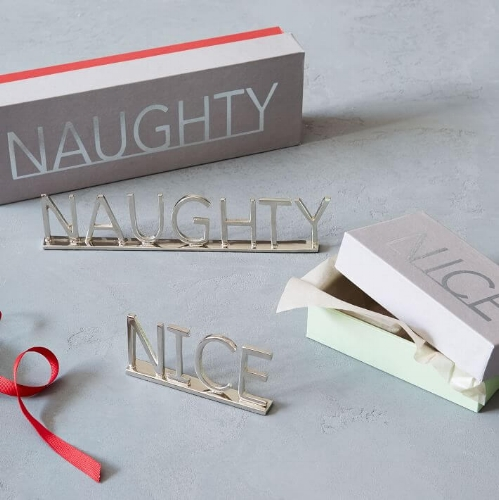 Brass Word Objects - Naughty and Nice from West Elm