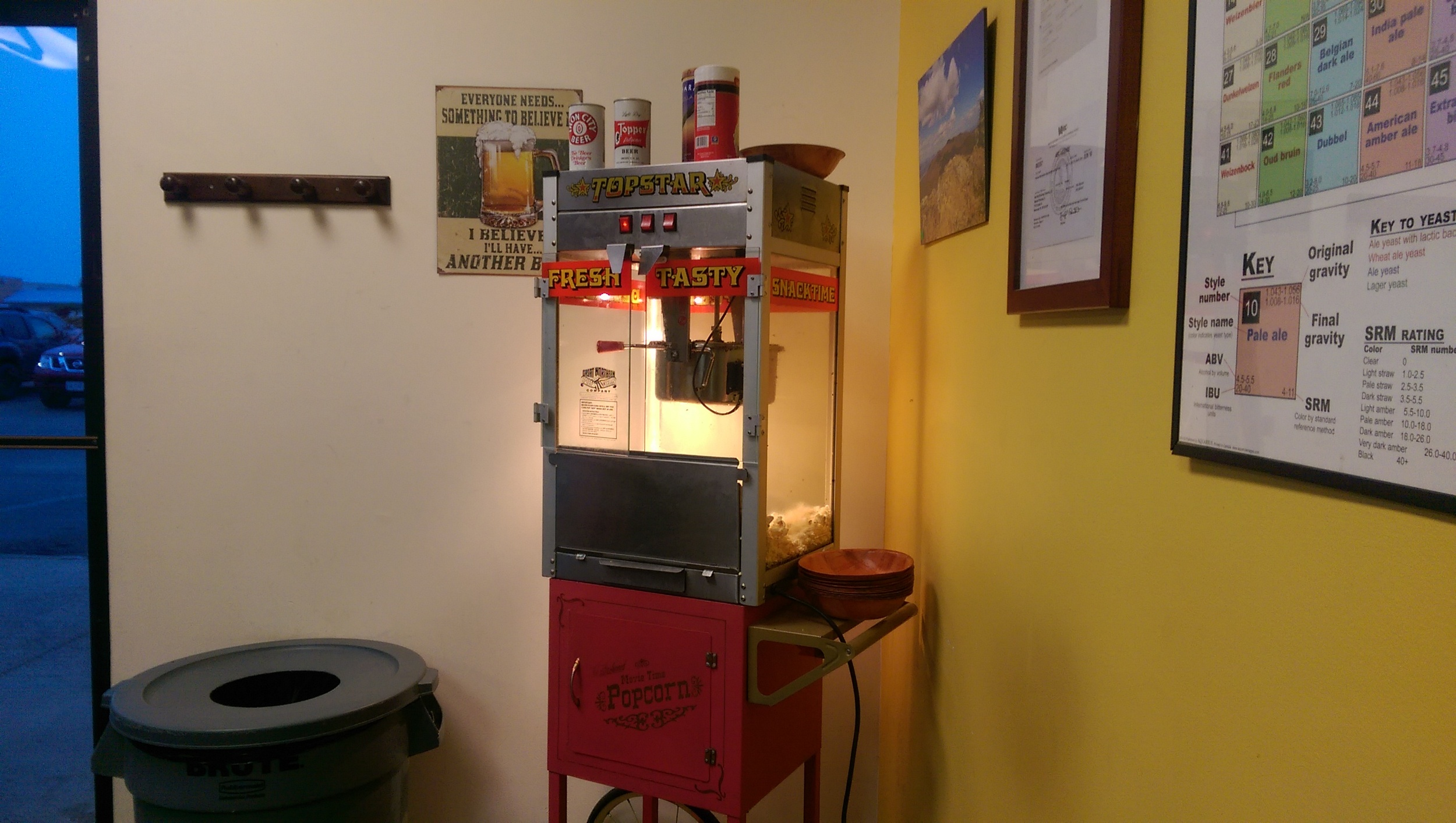 Popcorn is always ready at BadWolf Brewing