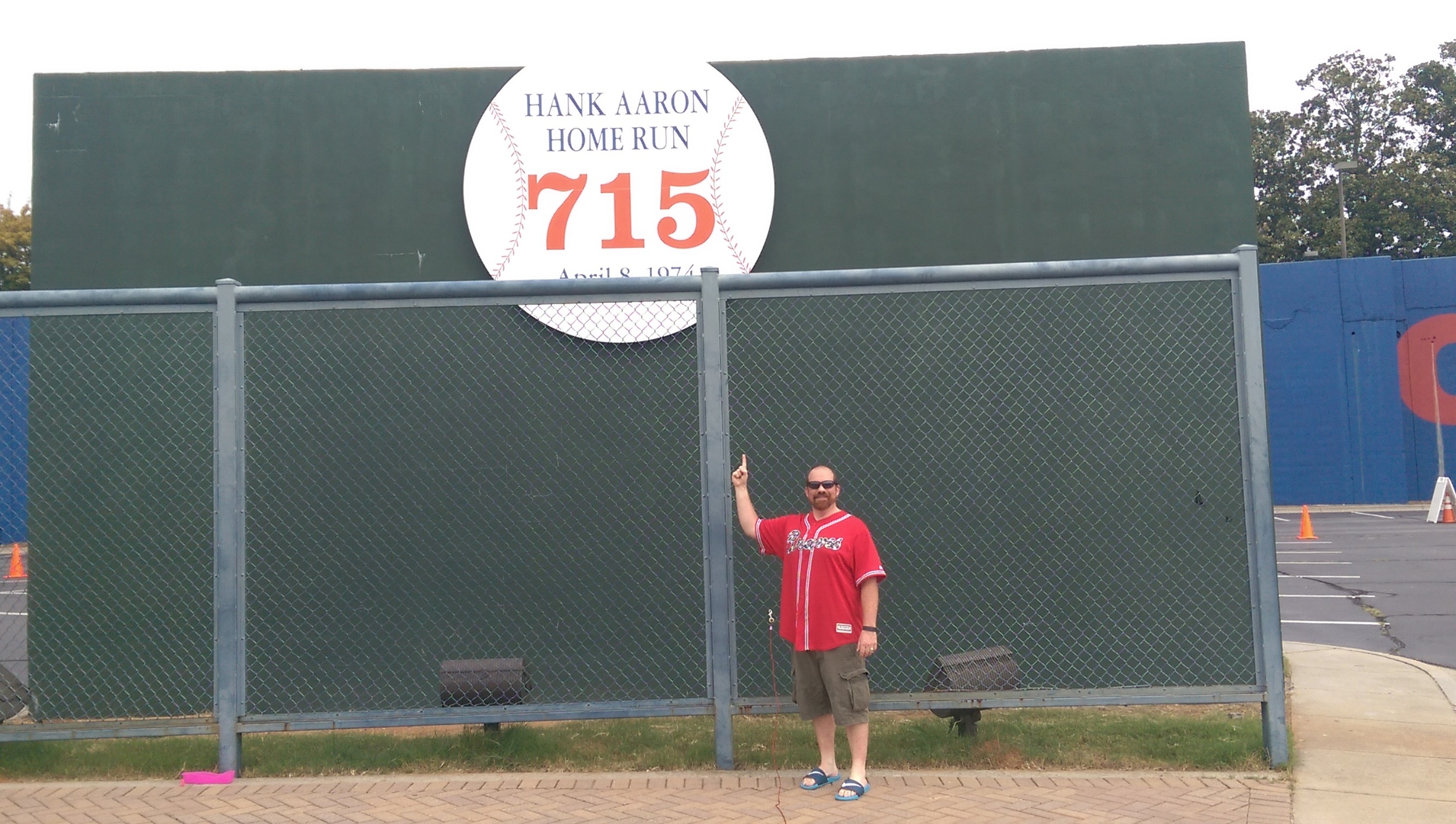 The fence and the wall when the true home run king, Hank Aaron, broke Babe Ruth's record.