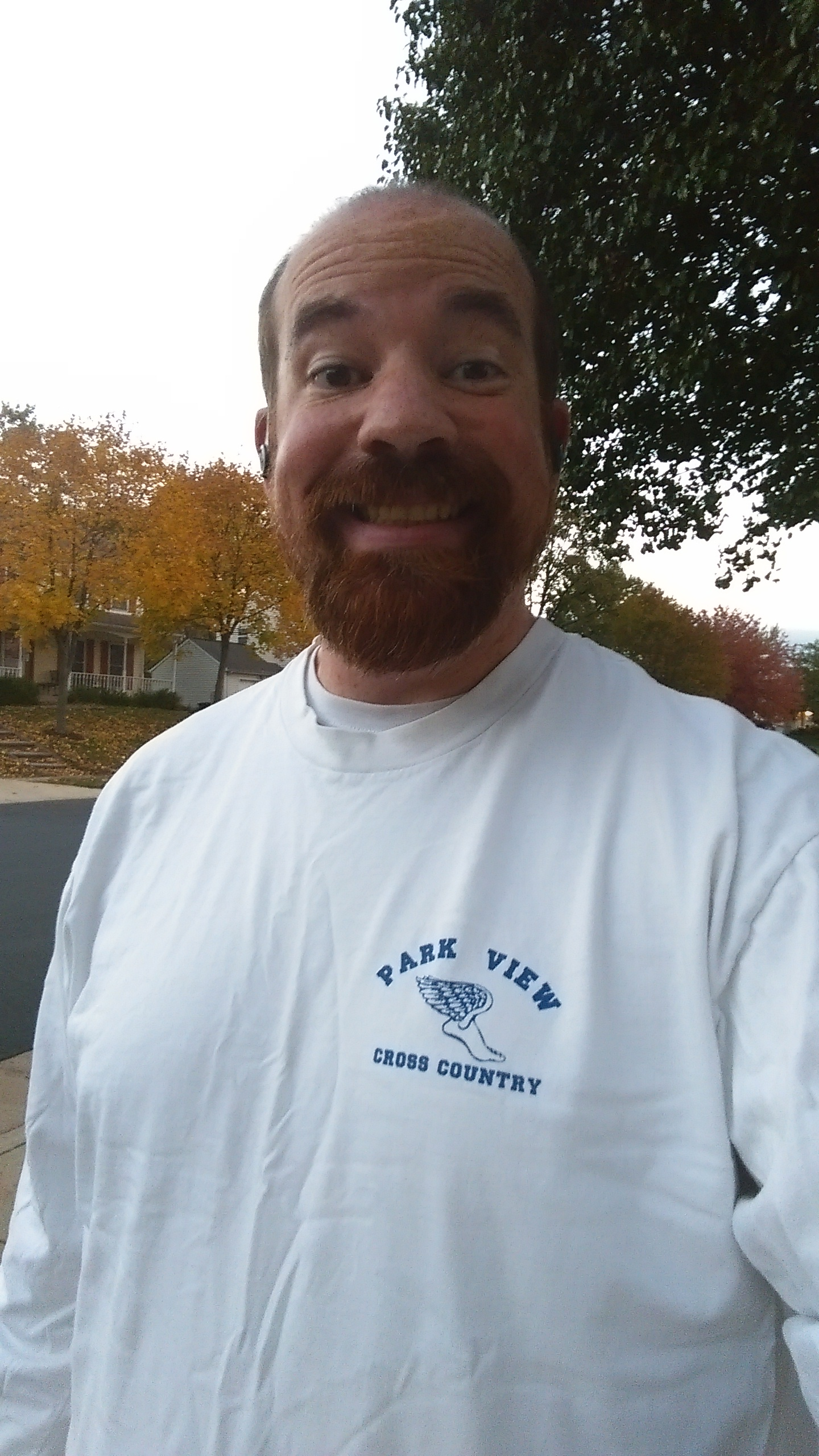 Friday evening run. Yes, that is a t-shirt from high school that I can wear again.