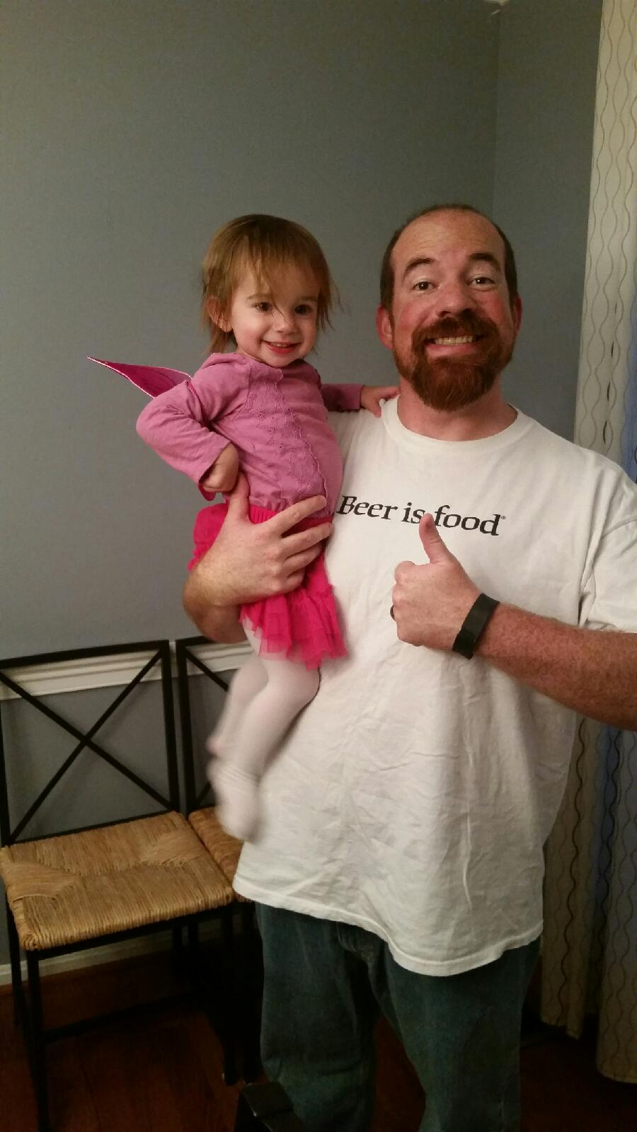 Cece went as a butterfly, Daddy went as a beer loving Daddy.