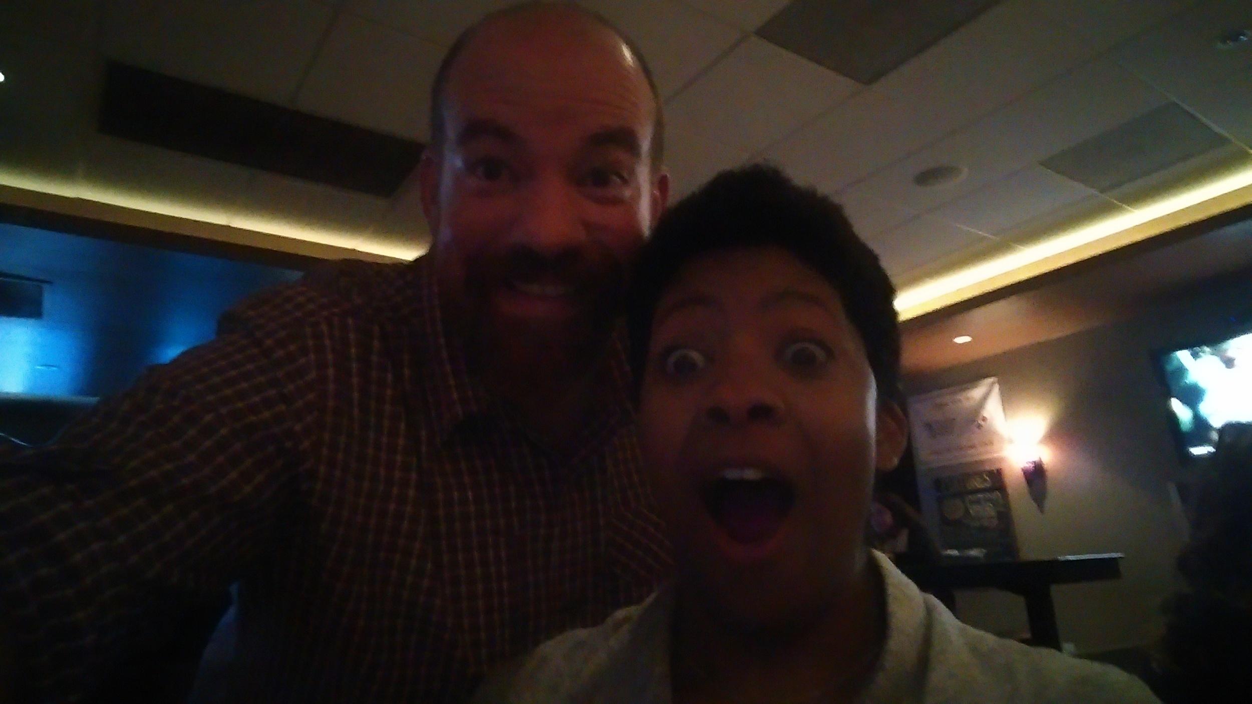 Poorly lit selfie of Brenda and me.
