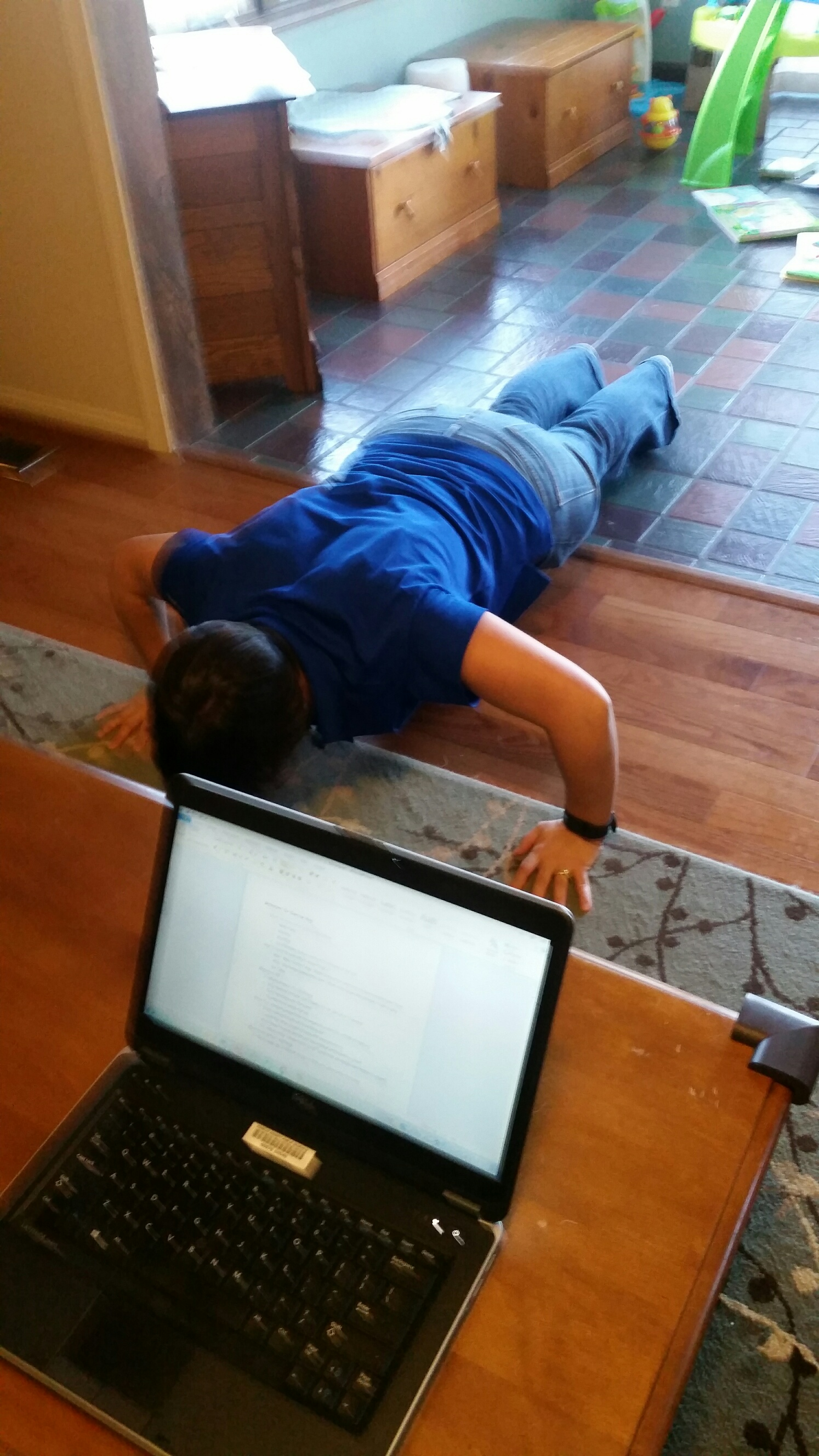 See...I really was doing push ups while writing!