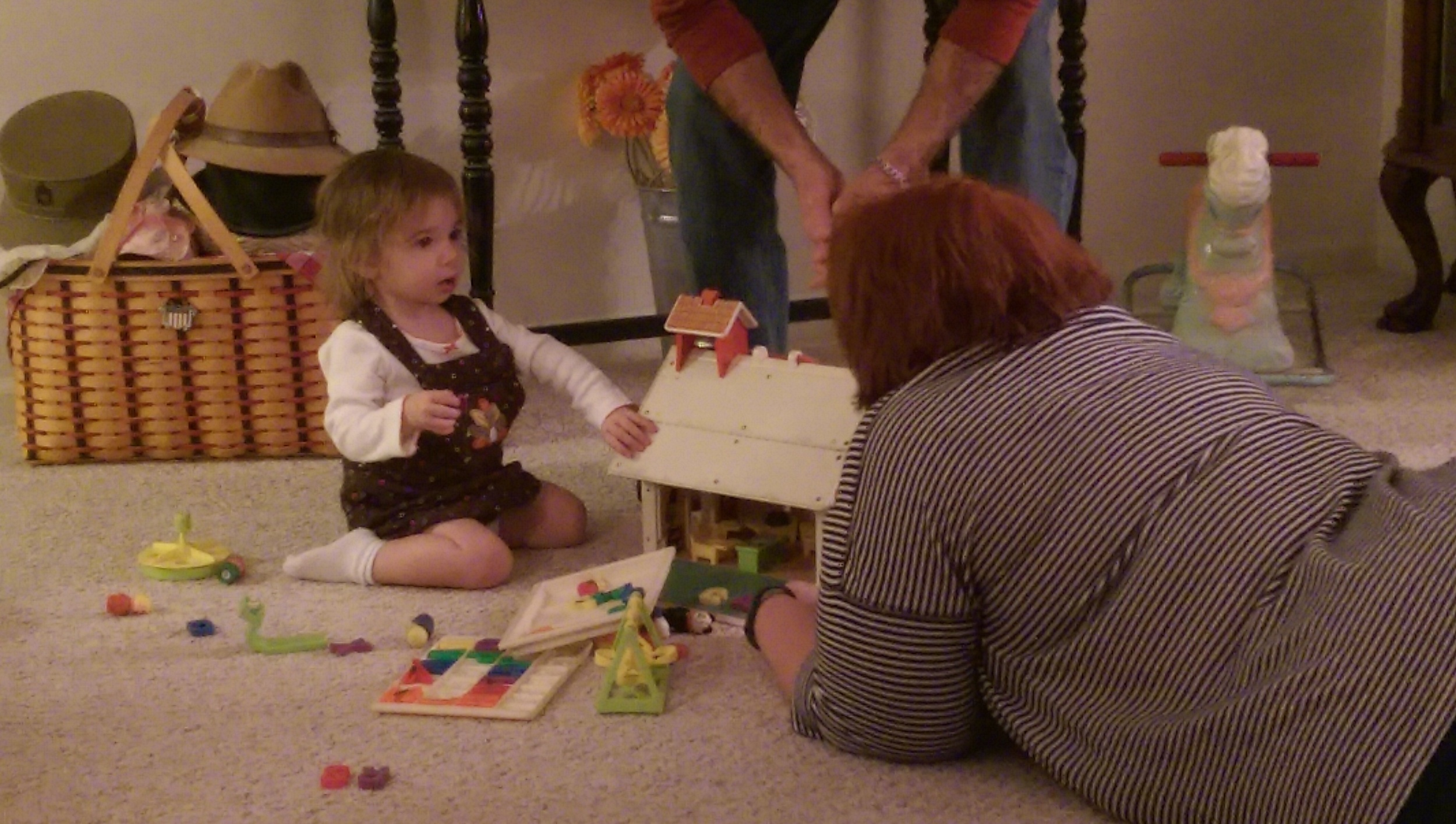 Cece and Aunt Carrie play schoolhouse