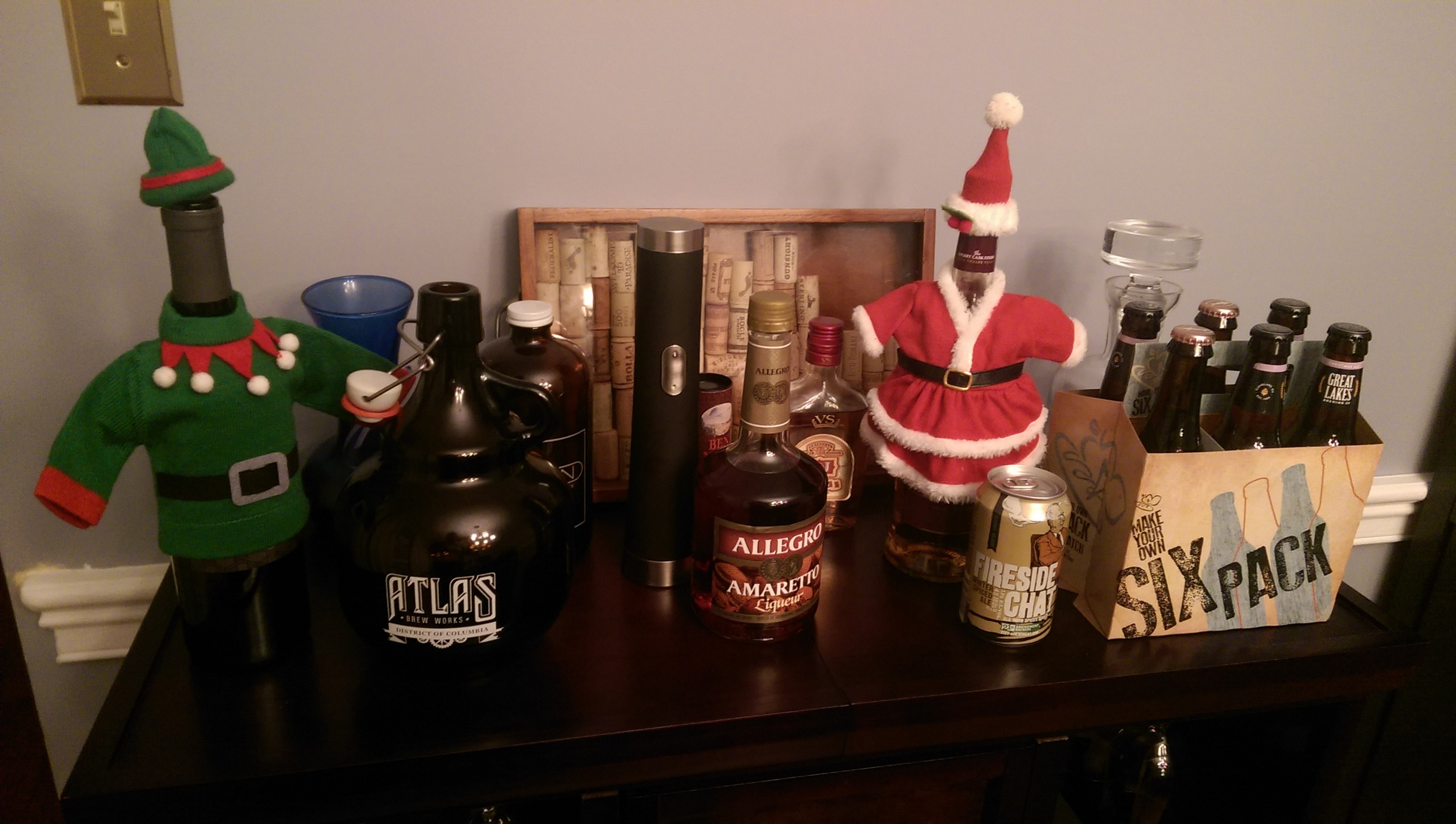 The red wine is dressed up as an elf while my Scotch is pretending to be Santa Clause.