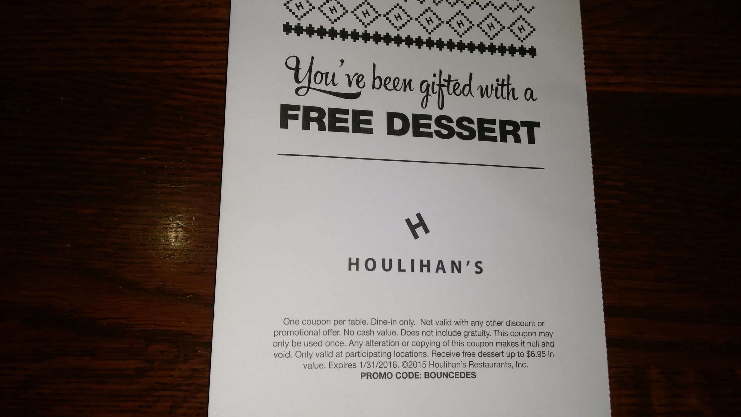 Houlihan's gave us a free dessert. Just what we needed before a beer tasting.