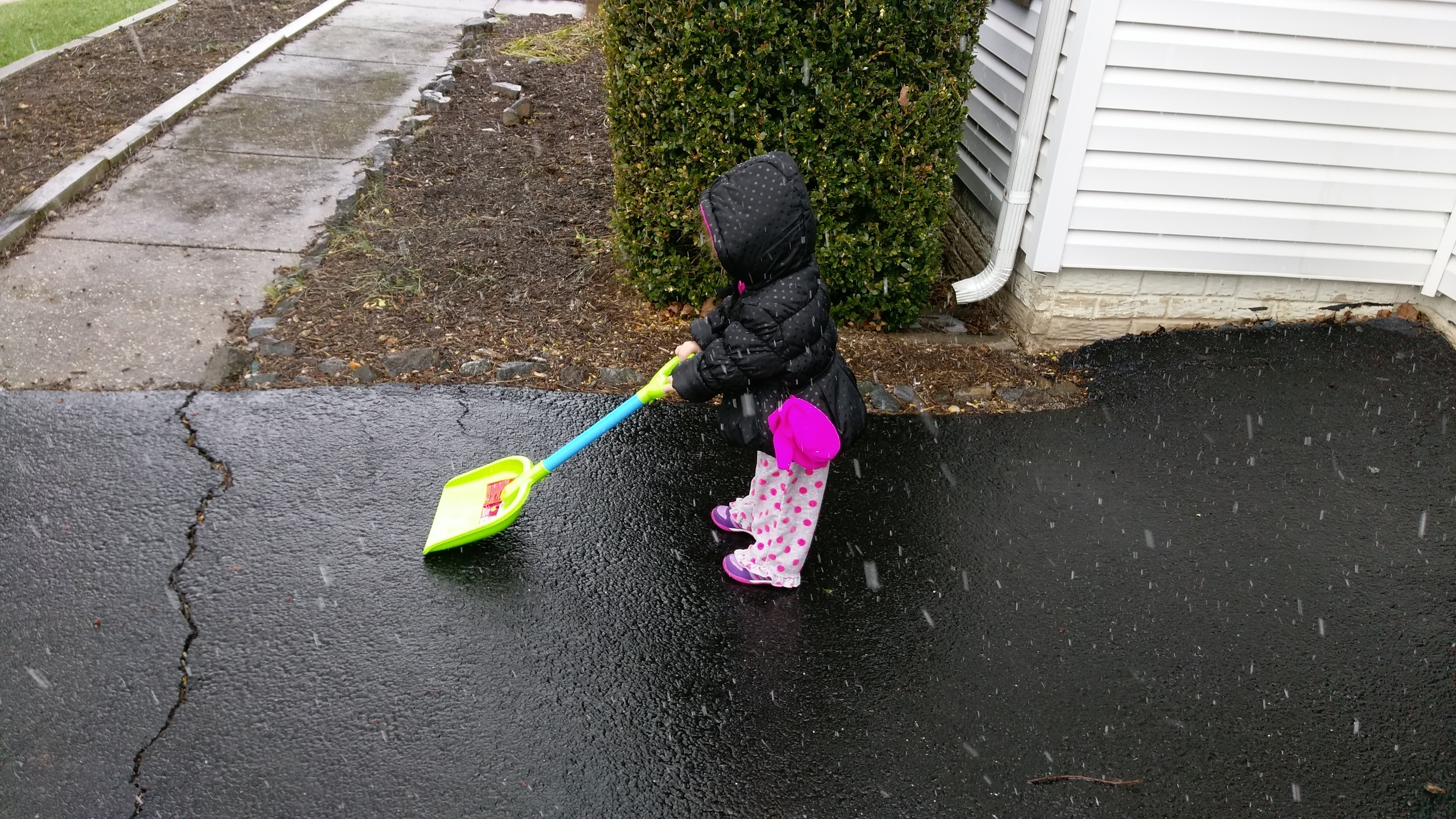 Cece getting an early start of shoveling