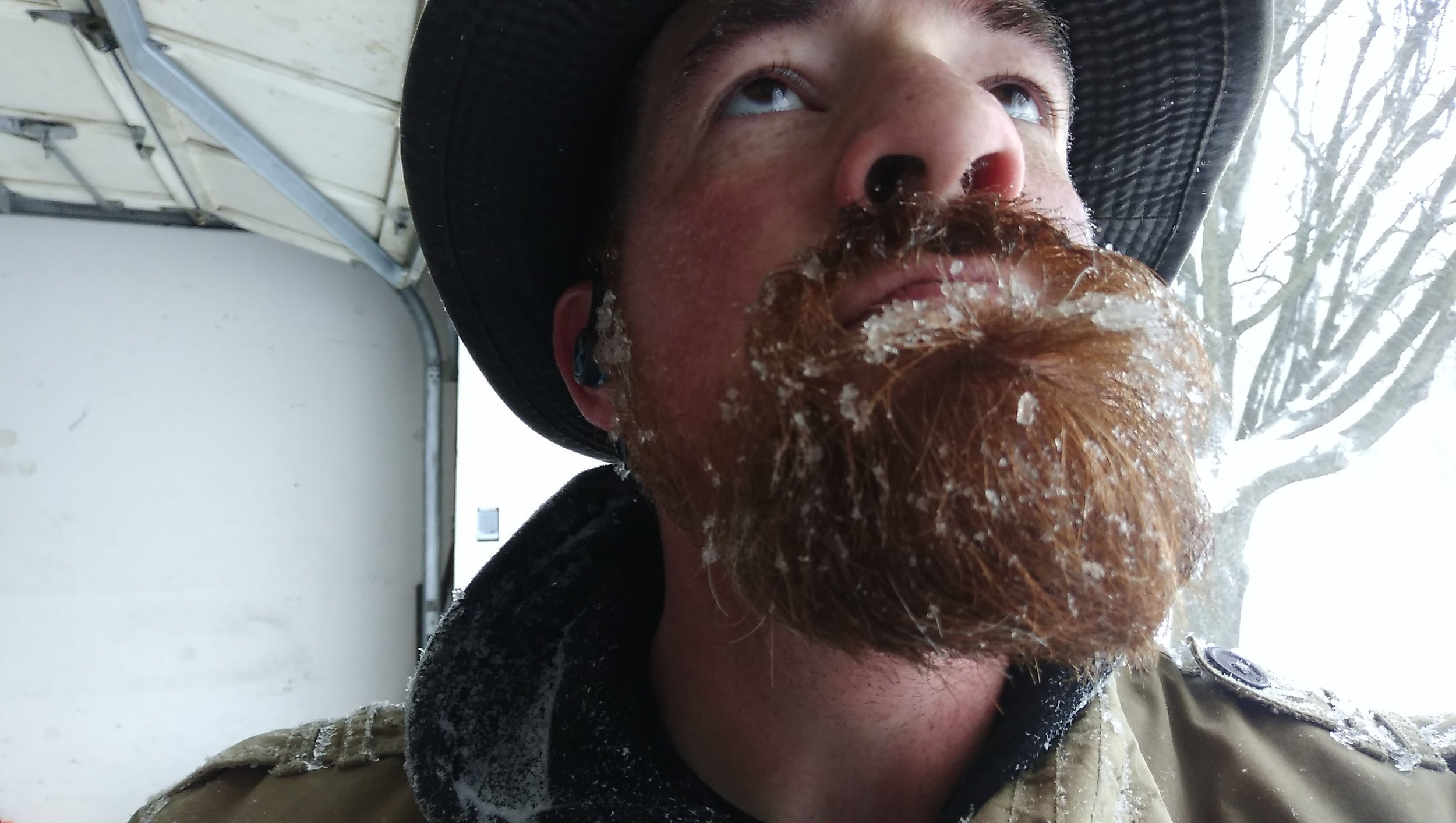 Midday Saturday. Blizzards make for a snowy beard.