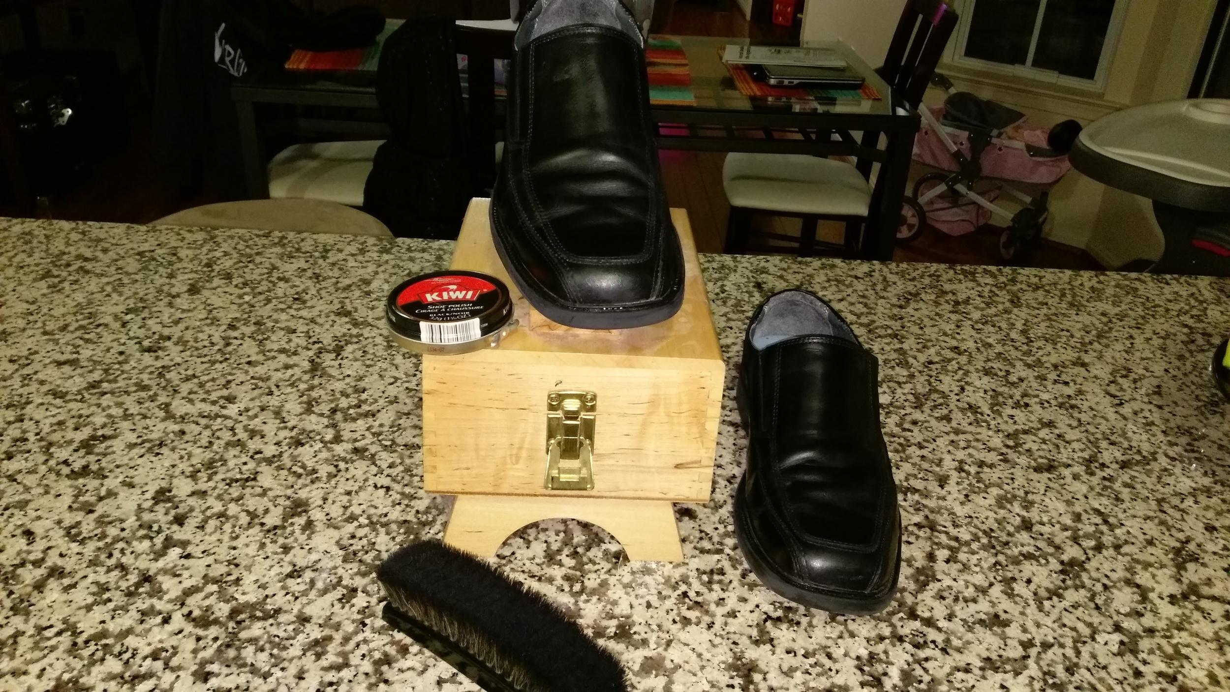 Pop was kind enough to leave me a shoe shine kit