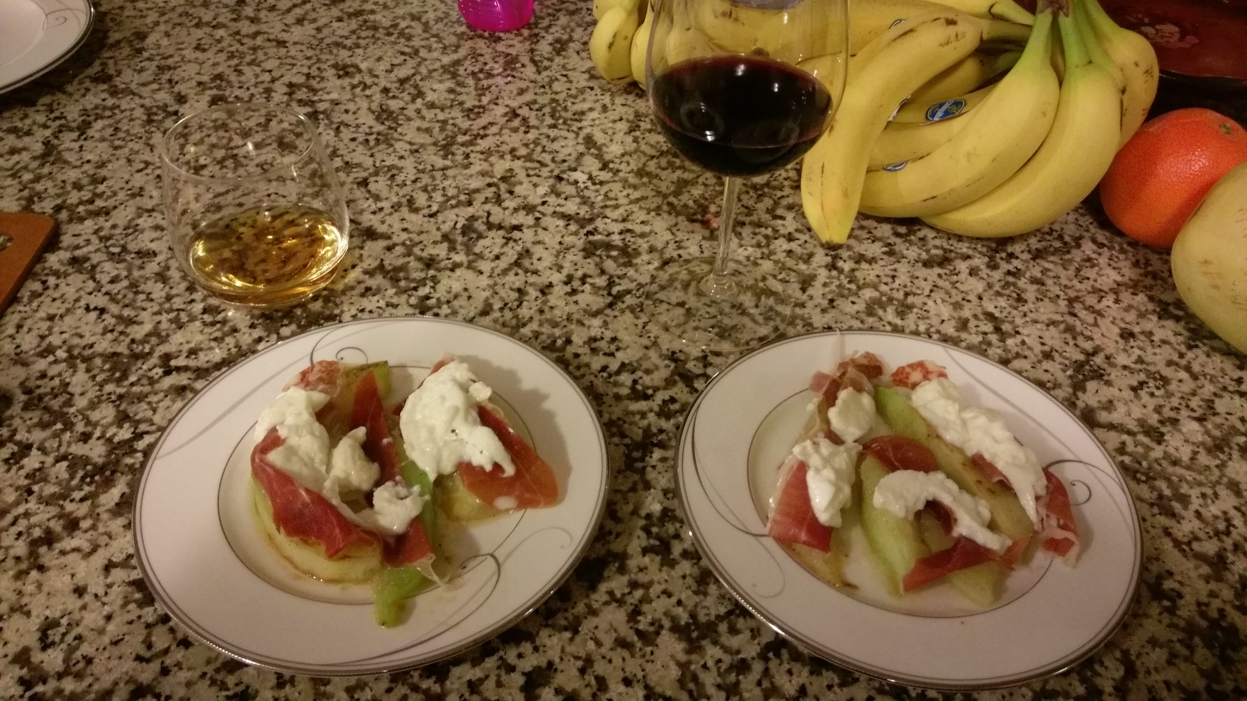 Appetizer with Scotch for me and wine for Rizzo