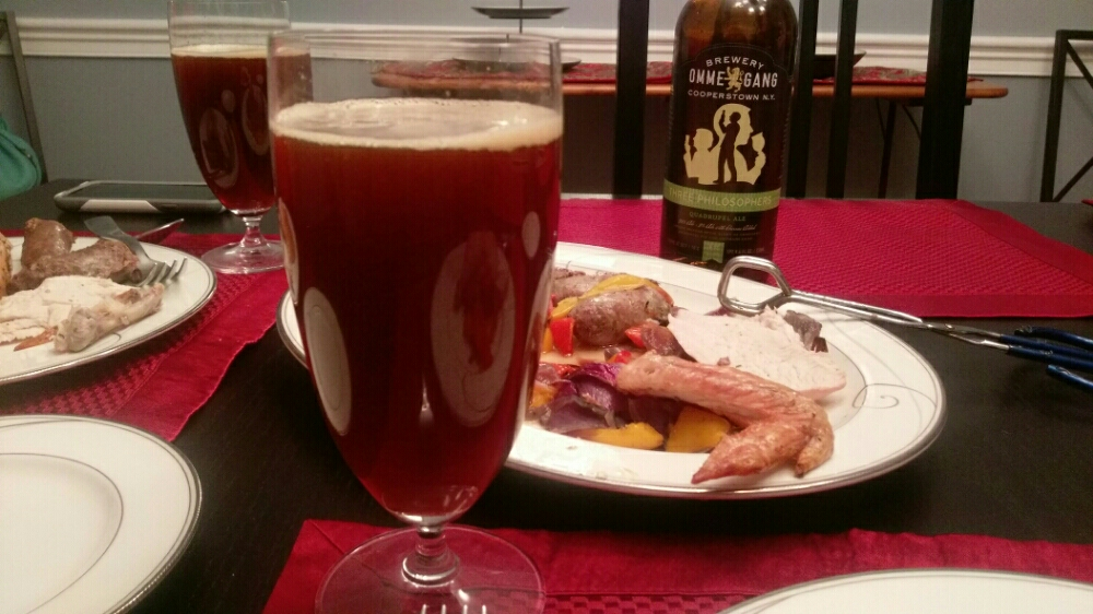 I served the main course with Ommegang's Three Philosophers Belgian Quad. It is an amazing beer if you like your beer malty. 5 out of 5.