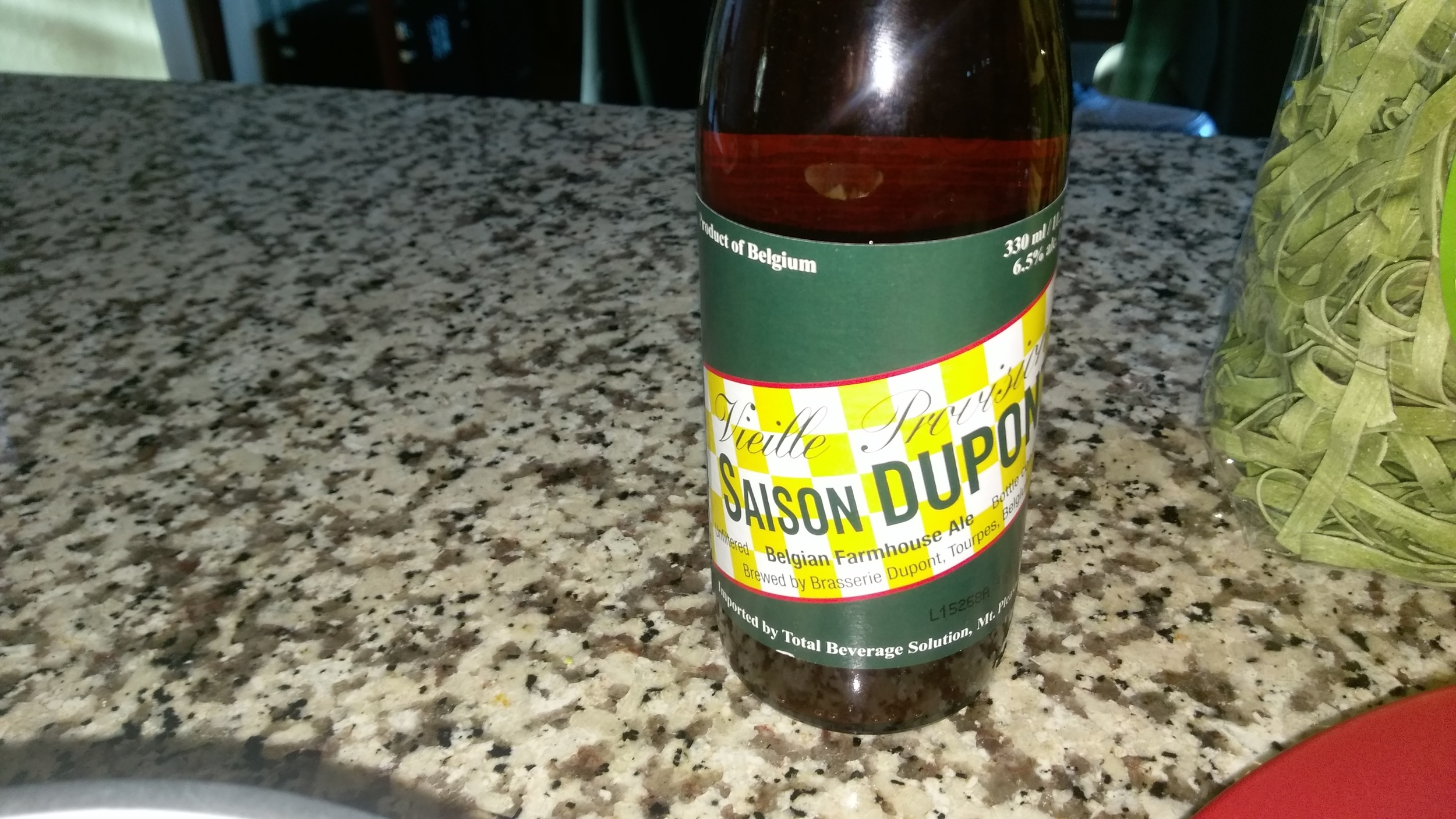 I used this tasty saison but you can use any farmhouse ale you want.