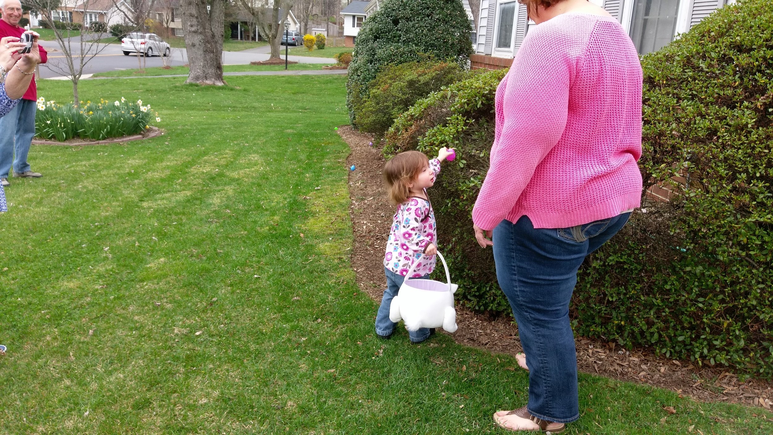 Hunting for eggs with Aunt Carrie