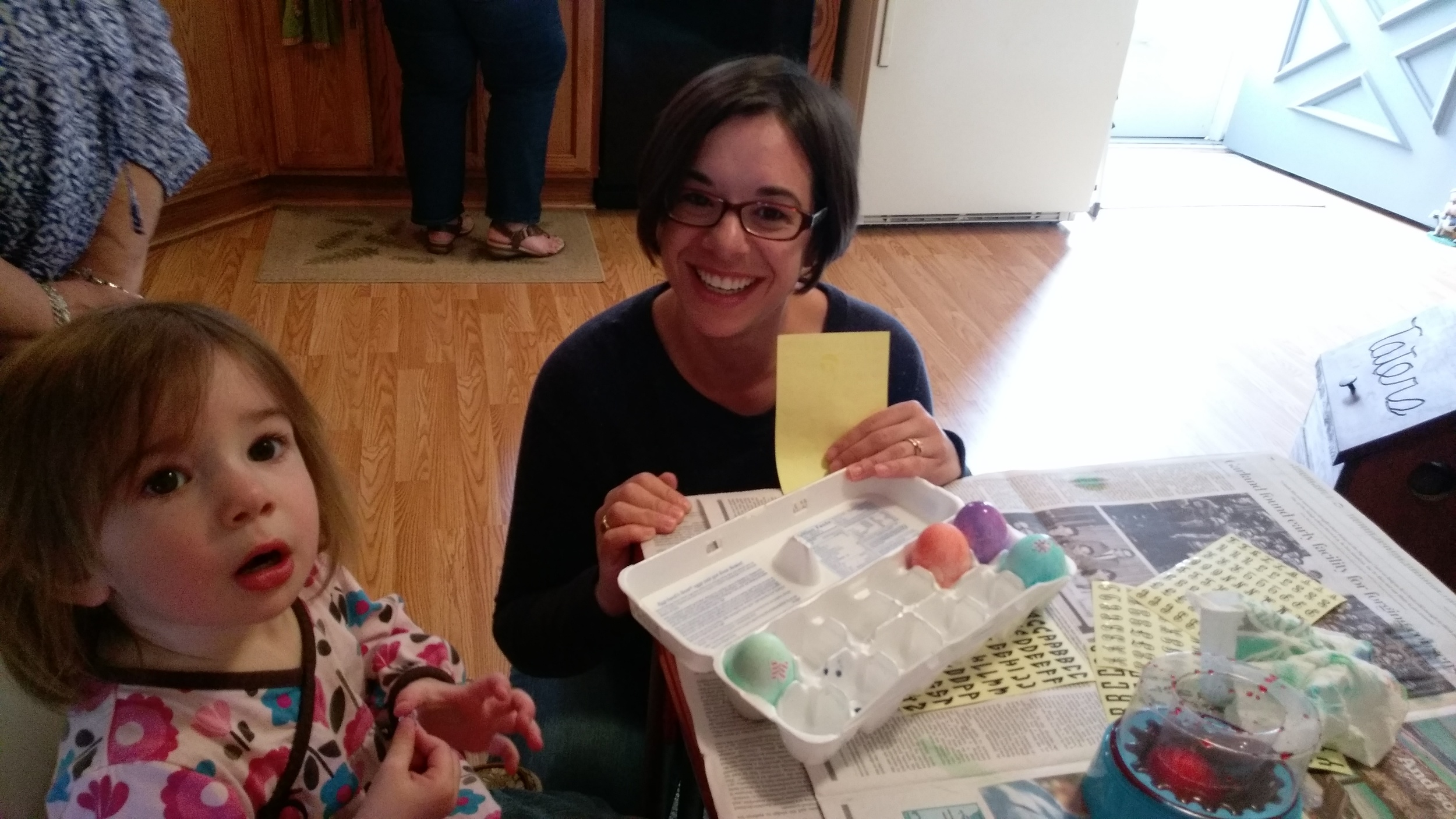 Cece and Rizzo coloring some eggs.