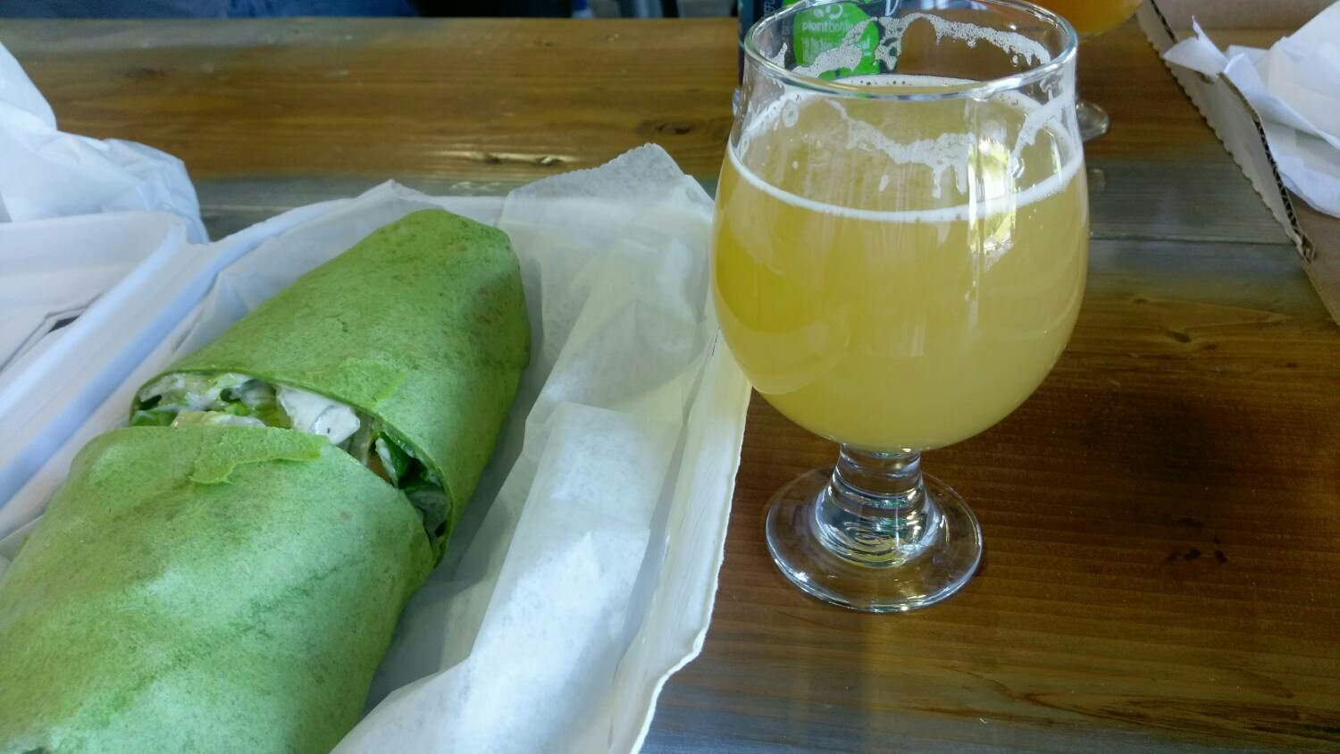 Santini's Chicken Wrap and a Strawberry-Lemon Kolsch.