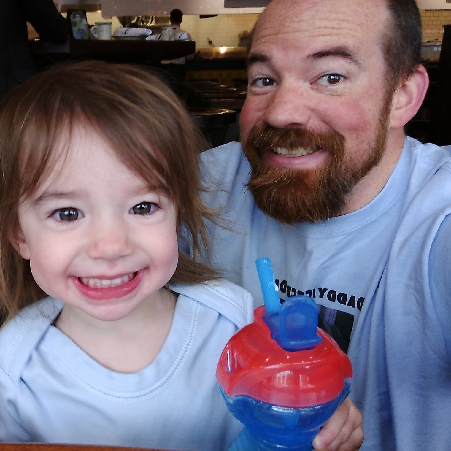 Daddy & Cece at breakfast