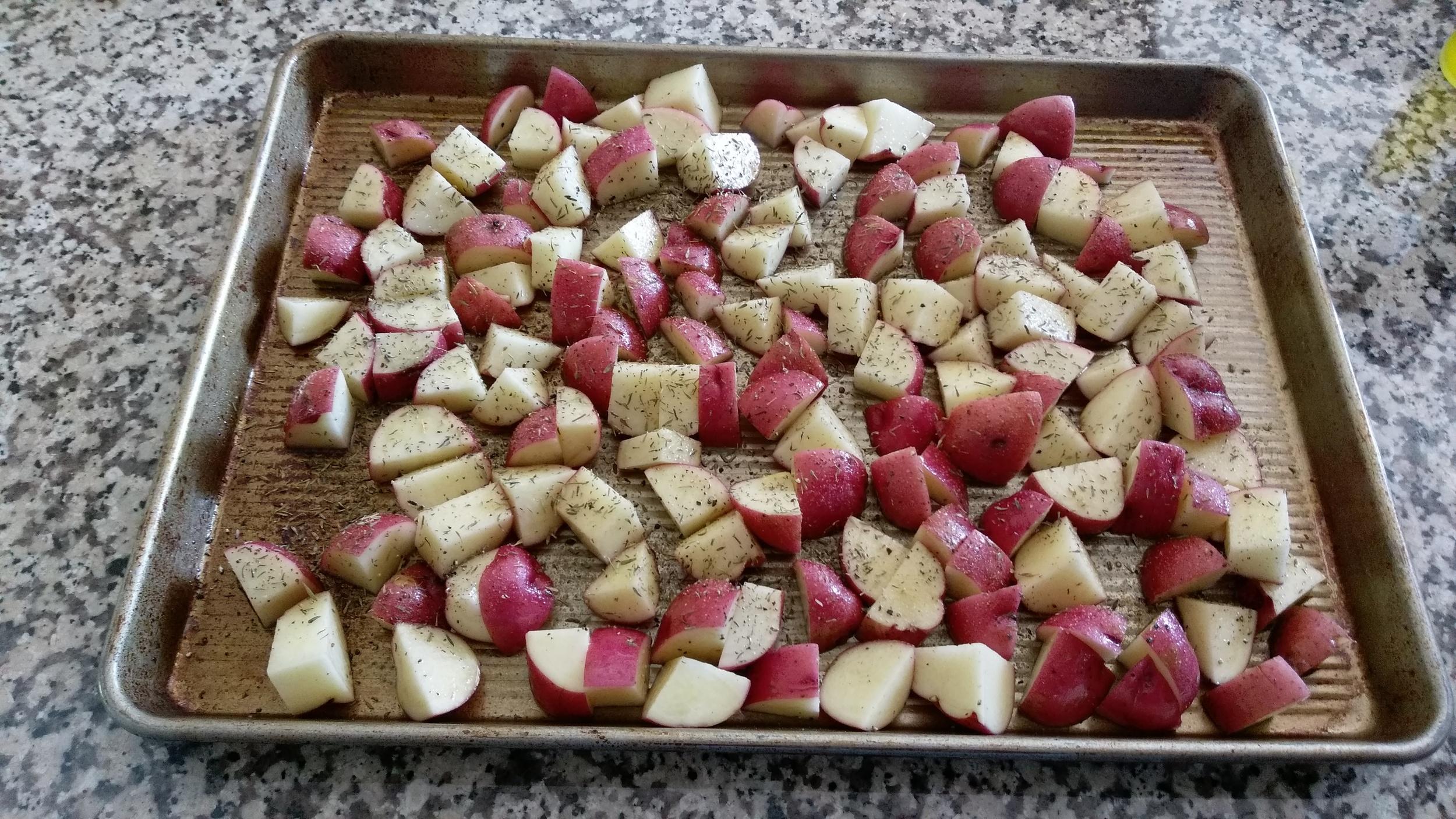 Potatoes ready to roast.