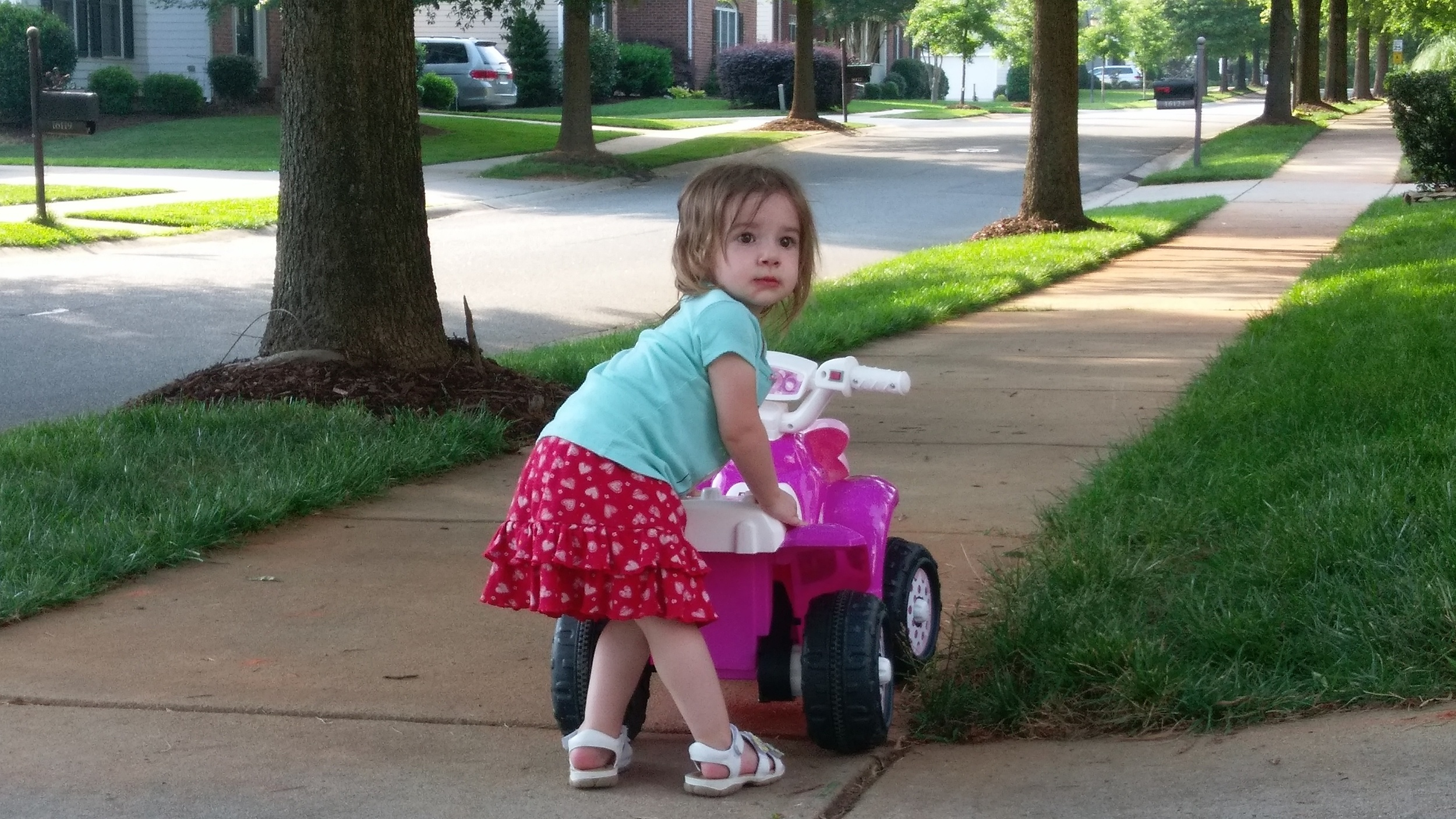 """Rizzo family got Cece a Minnie Mouse """"motorcycle"""" for her birthday. She loves it."""