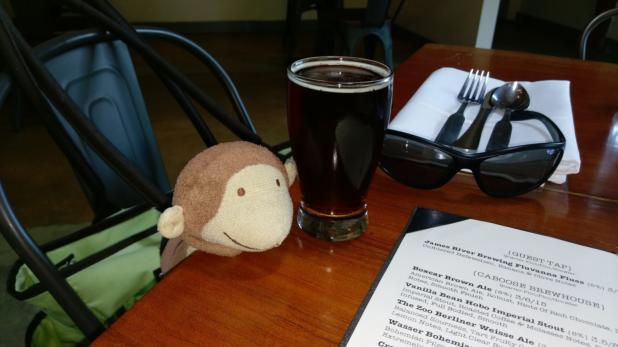 Cece's Snuggle Monkey loves a brown ale.