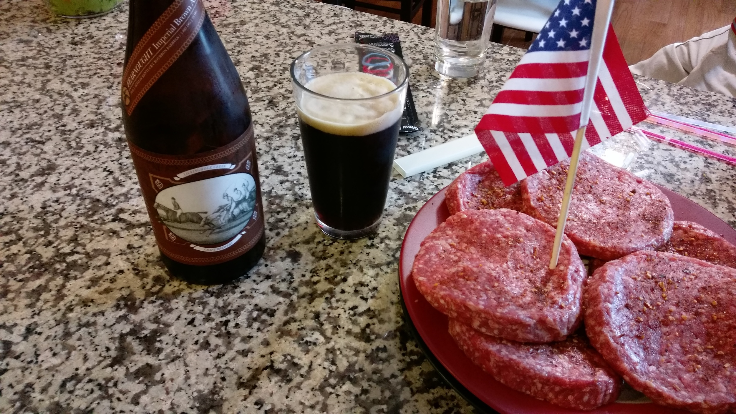 American burgers and beer