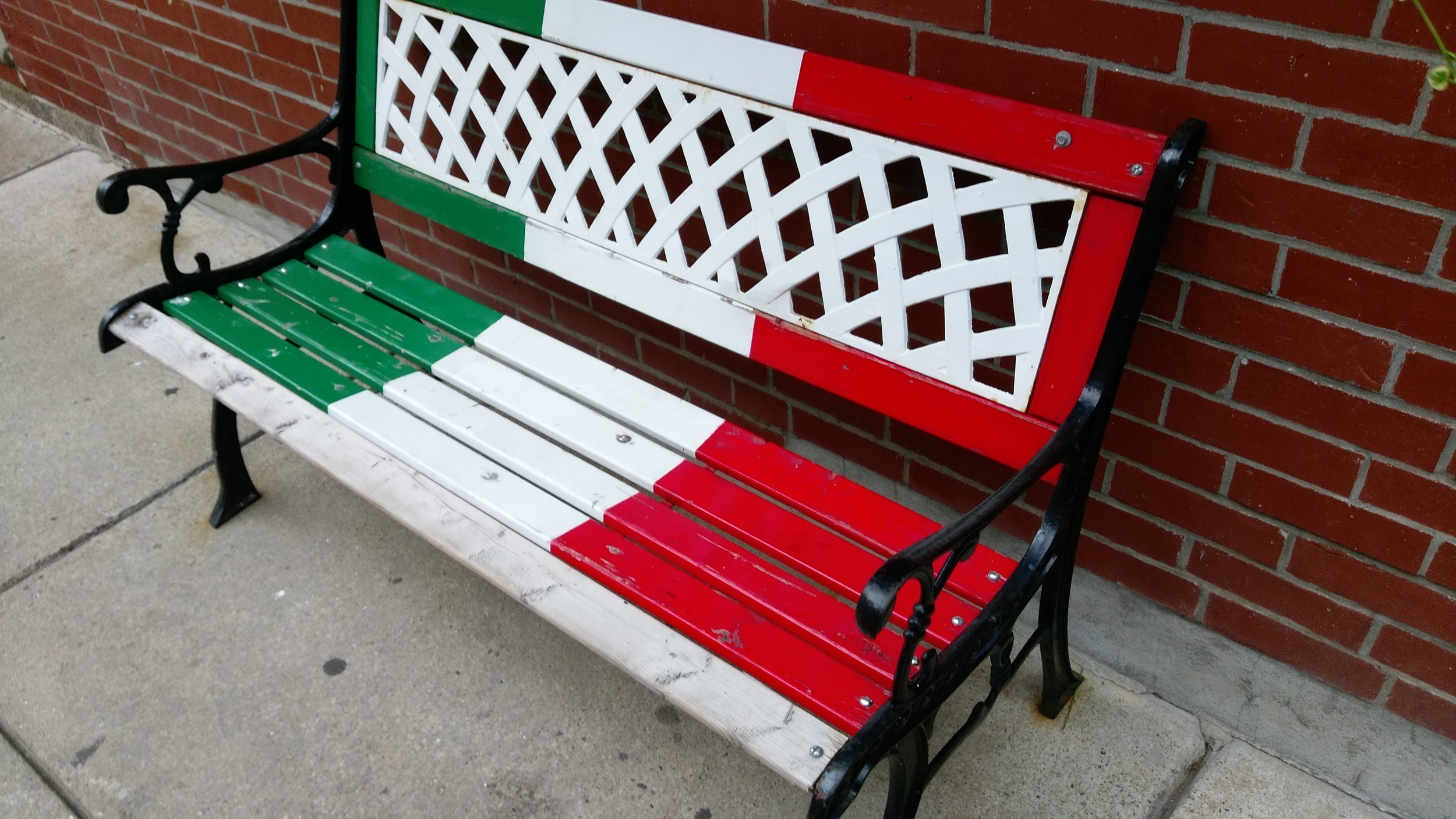 Even the benches in the North End are Italian.