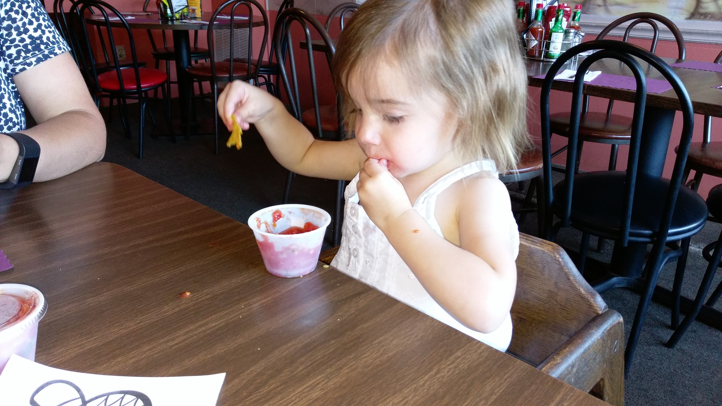 Cece loves salsa and chips