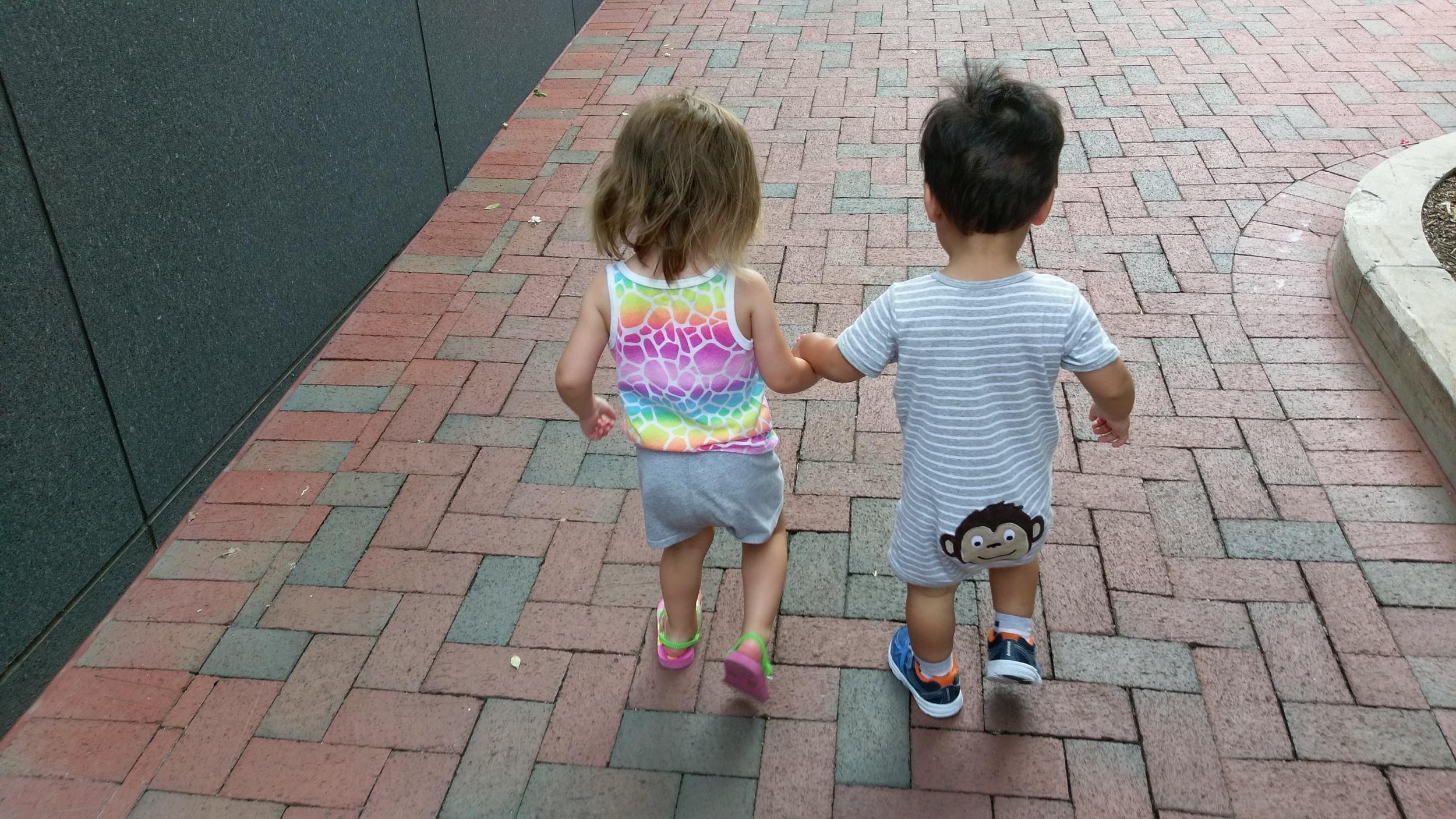 Best friends walking to lunch.