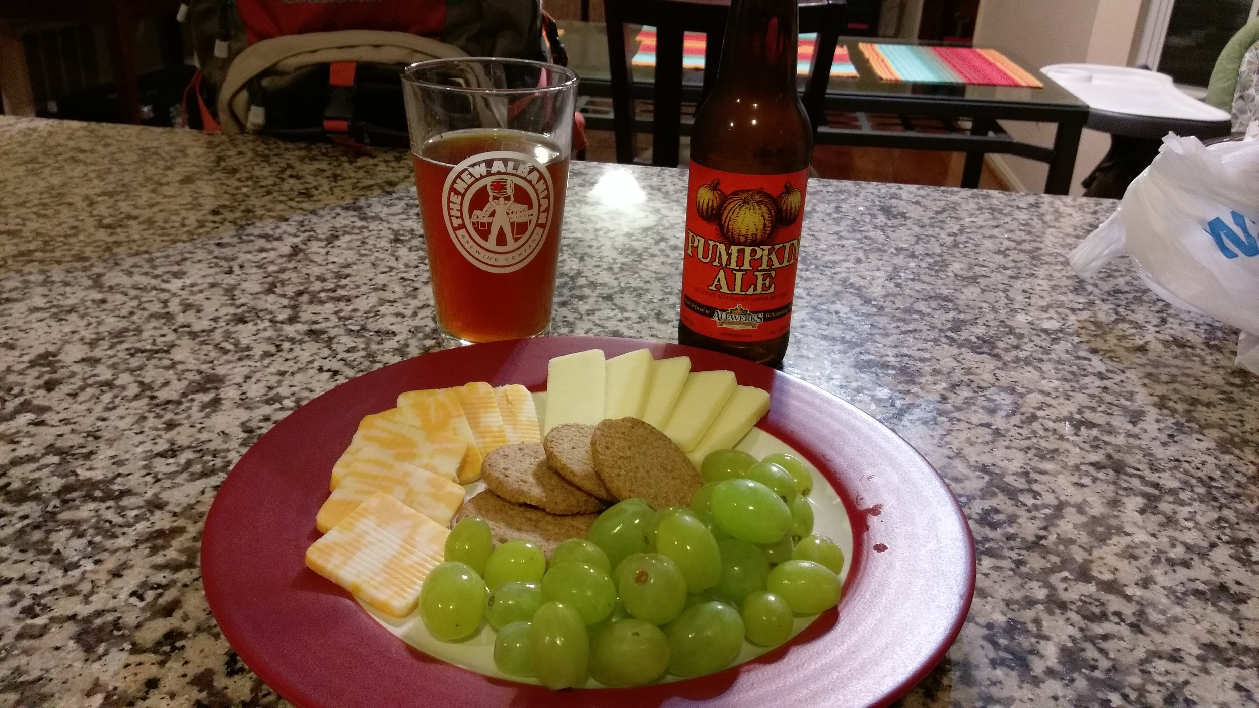 Healthy snack and a beer