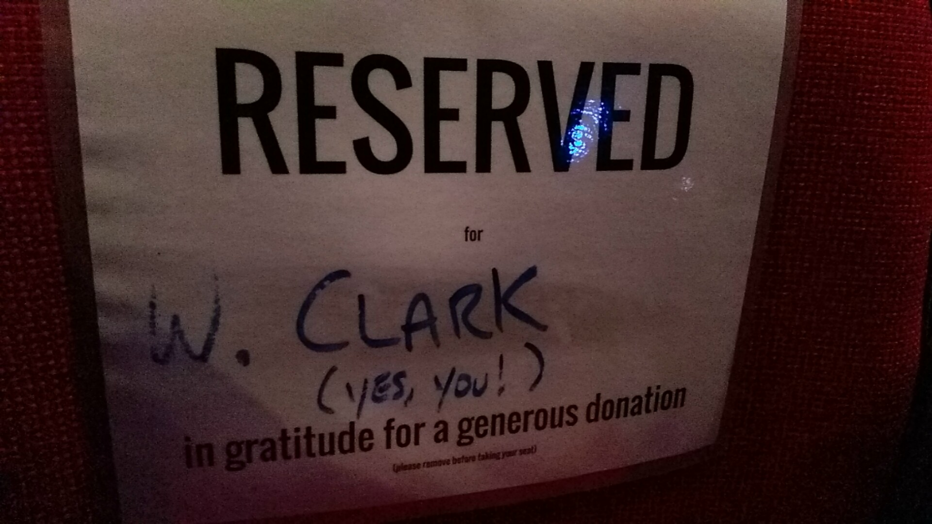 Reserved seats at the theatre