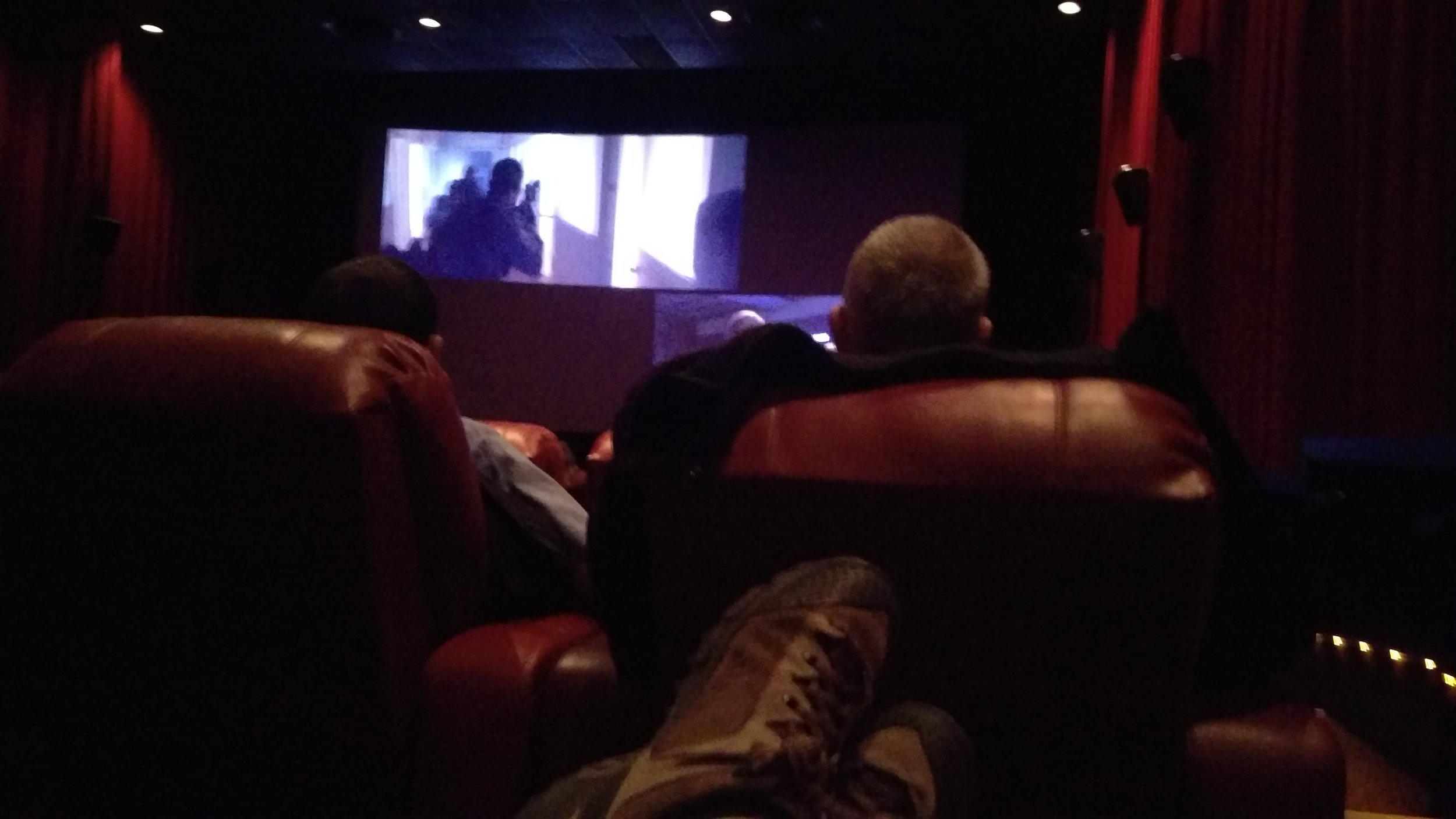 Feet up and ready for the movie.
