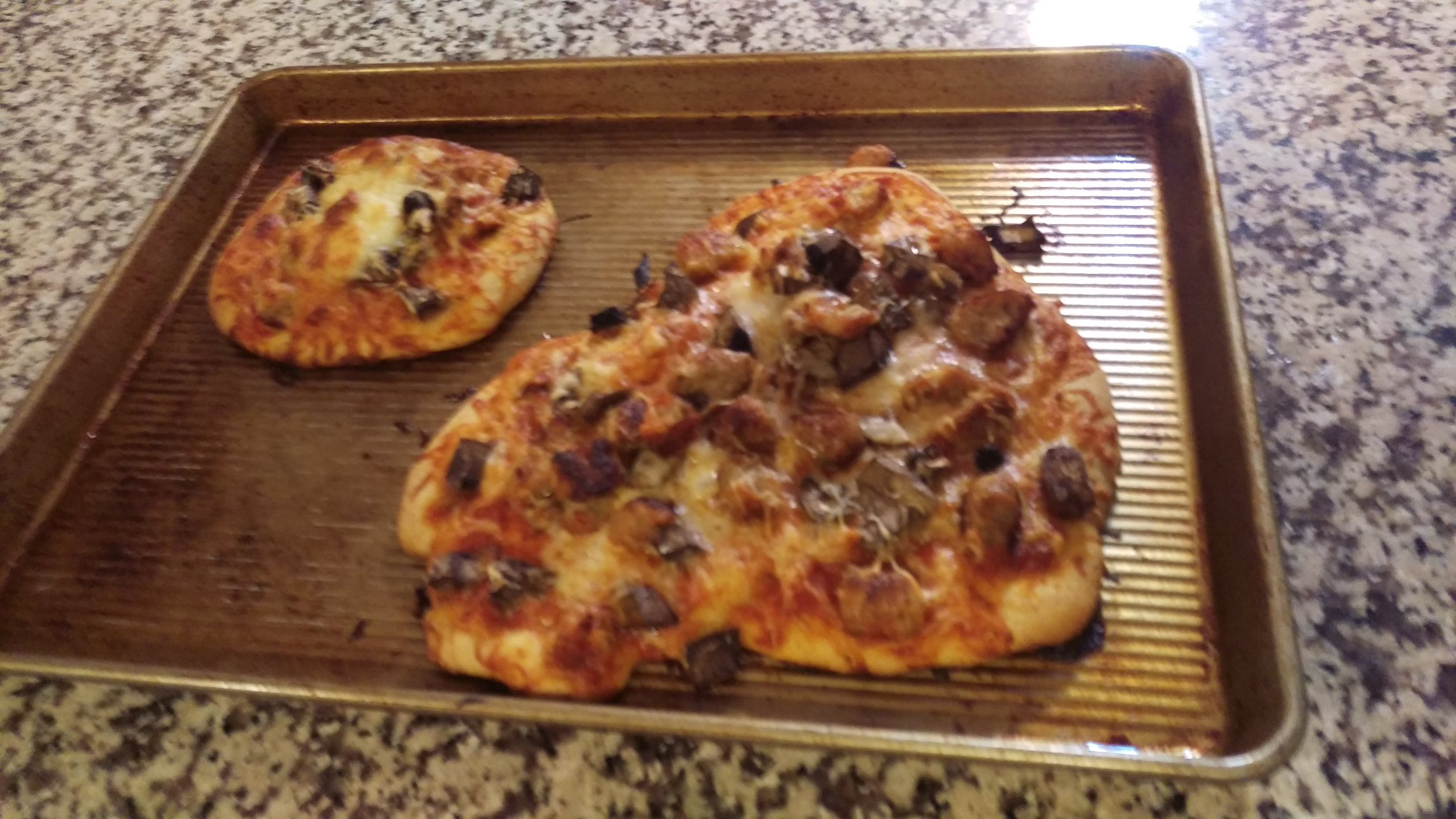 Finished pizzas