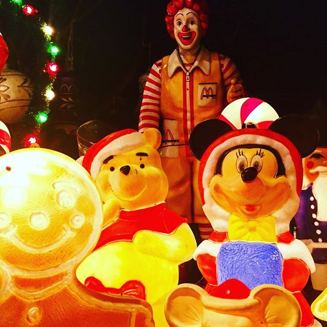 The things you find nearby your house eh #mcdonalds #disney #mickeymouse #winniethepooh #gingerbreadman #lights #christmas #creepy #merrychristmas