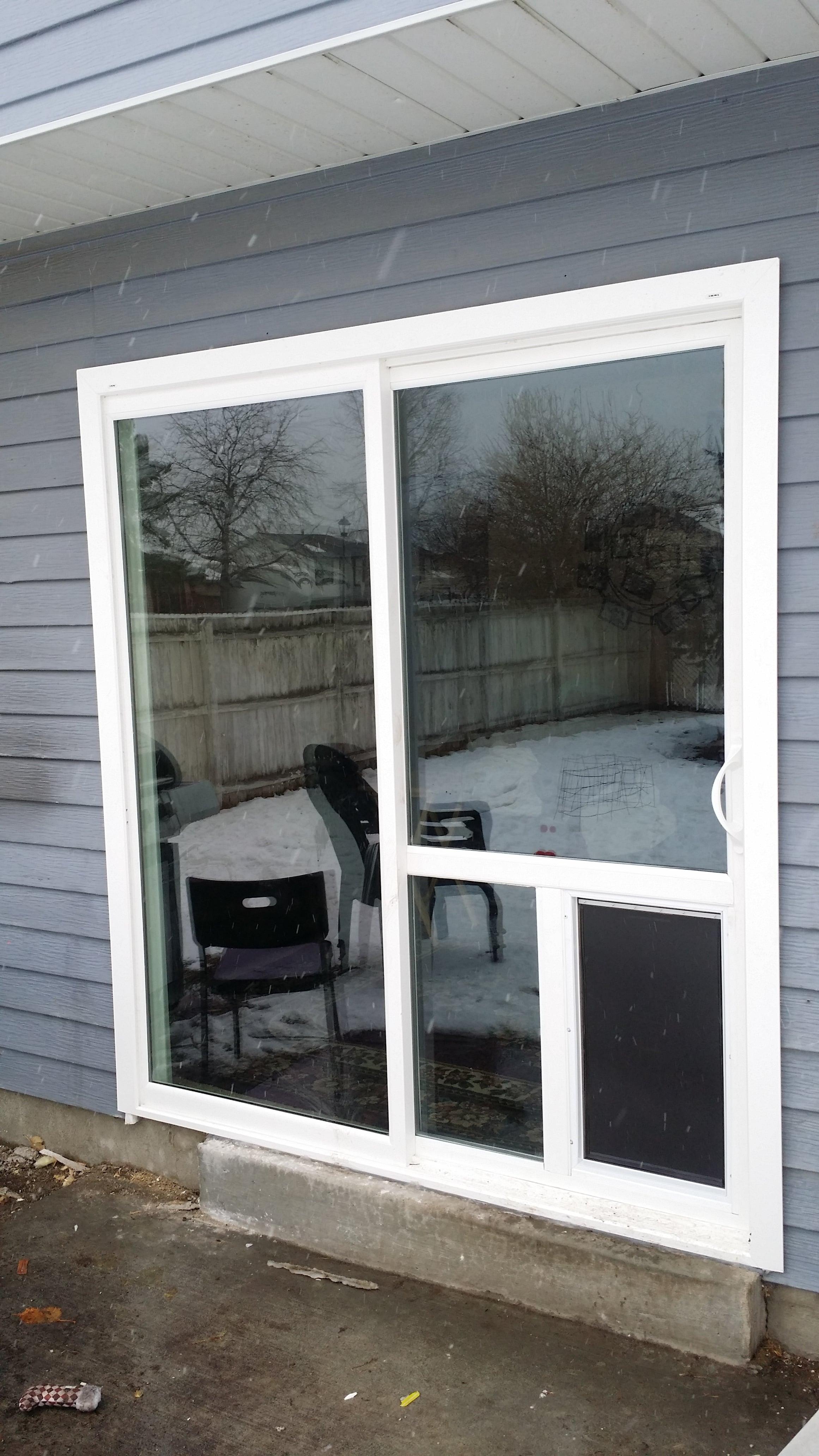 Doggy door in a sliding patio door