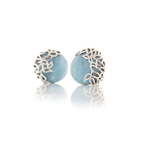 Aquamarine and silver stud earrings