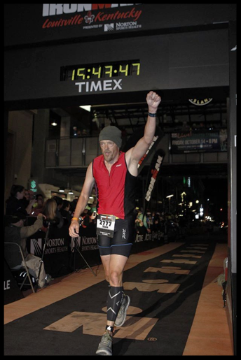 Sean Lindsay crossing the finish line at Ironman Louisville, KY after a 2.4 mile swim, 112 miles on a bike, and a full marathon run of 26.2 miles. October 9th, 2016.