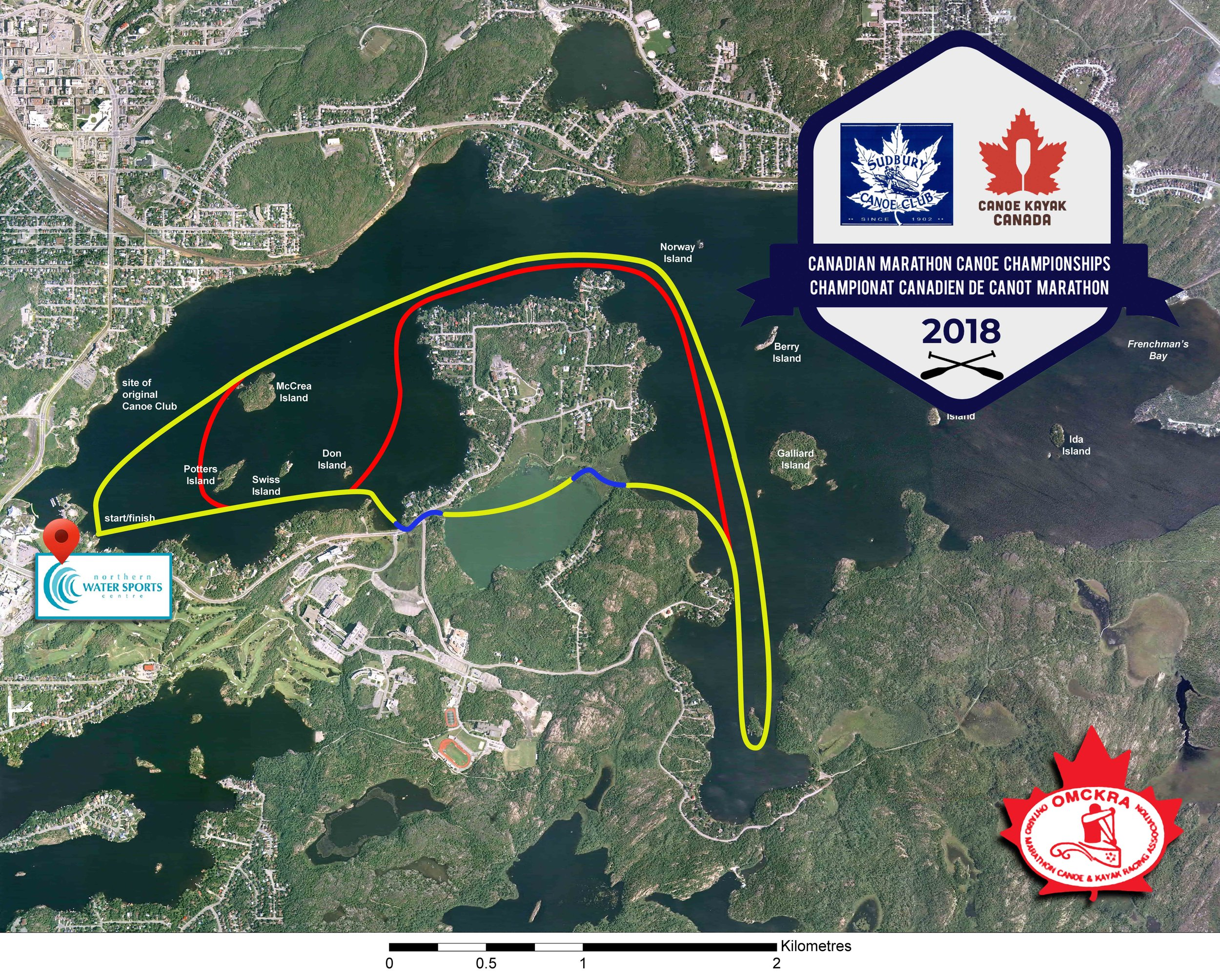 Yellow = Norman Course  Red = Portage Bypass  1 loop = 10km  2 Loops = 20km (take short red to repeat loop)