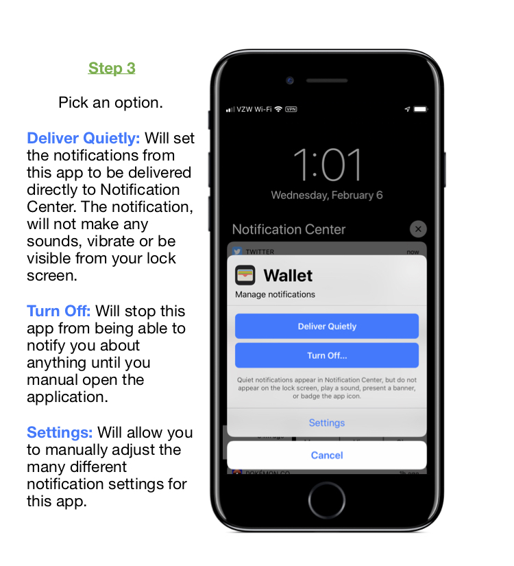 """Step 3: Using 1 finger, flick to the right or left to navigate the """"Manage notifications screen"""" a description of the options are below. Deliver Quietly: Will set the notifications from this app to be delivered directly to Notification Center. The notification, will not make any sounds, vibrate or be visible from your lock screen. Turn Off: Will stop this app from being able to notify you about anything until you manual open the application. Settings: Will allow you to manually adjust the many different notification settings for this app."""
