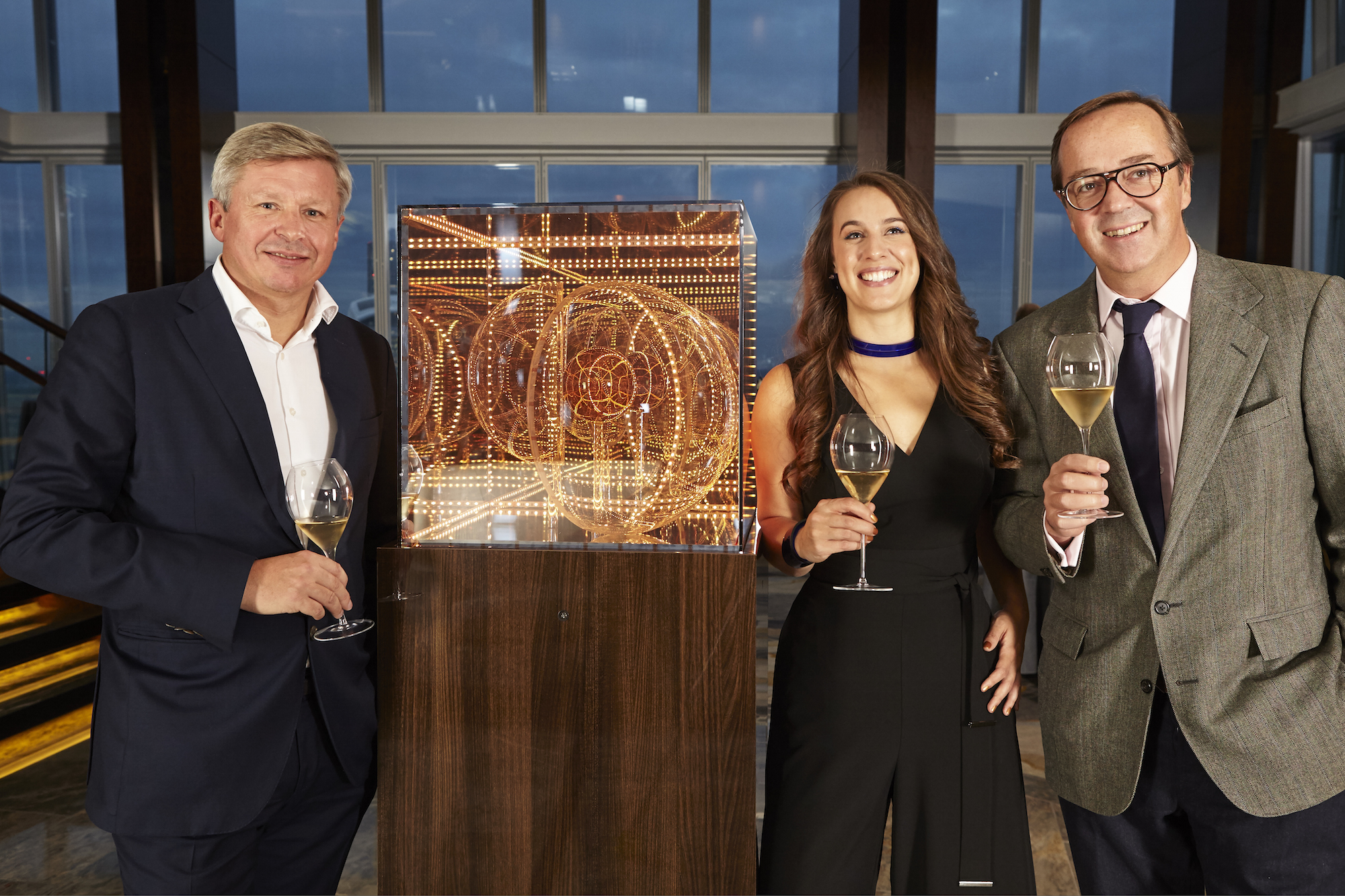 Roederer's Chairman, Frederic Rouzaud and Chef de Cave, Jean-Baptiste with artist, Aphra Shemza photographed by David Wilman at the Global Launch event.