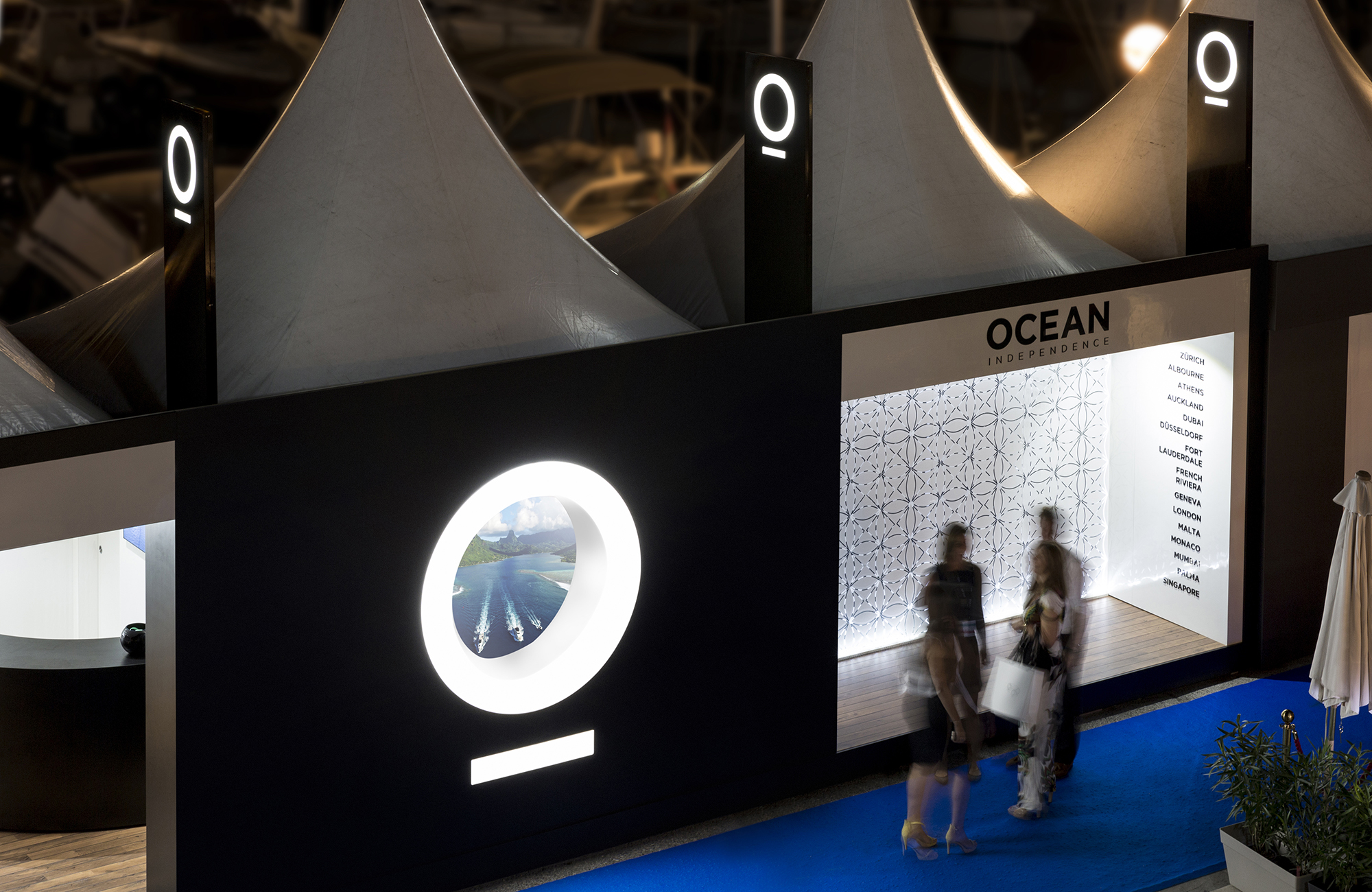 The night time experience for Ocean Independence at Monaco Yacht Show 2016, photographed by Big Dog Productions.