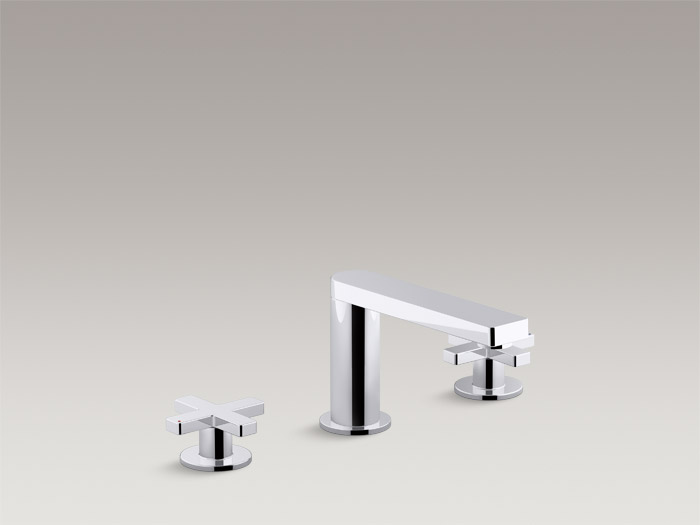 Deck-mount bath faucet trim with cross handles    K-73081T-3