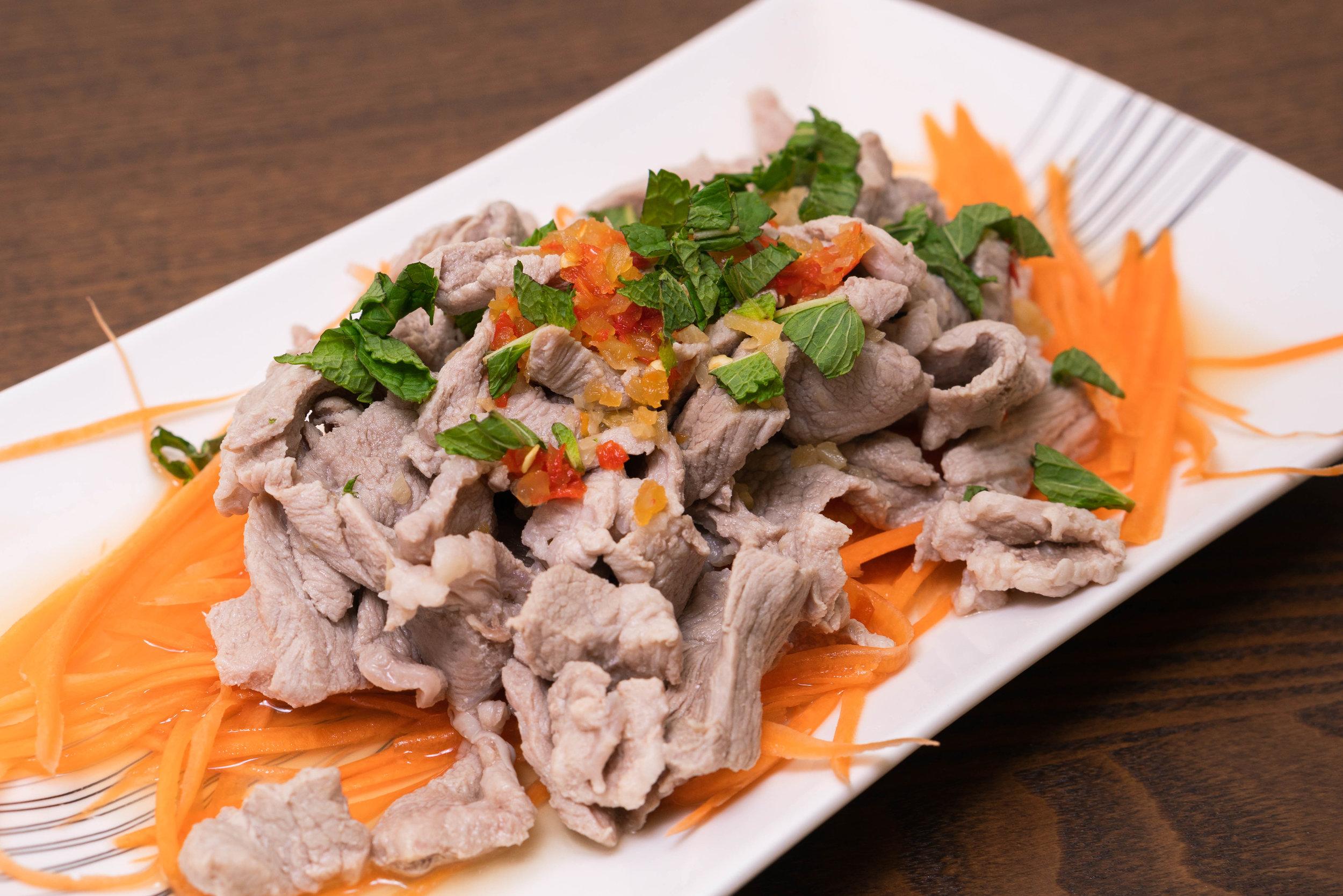 Emincé de porc aux basilic Thaïlandais