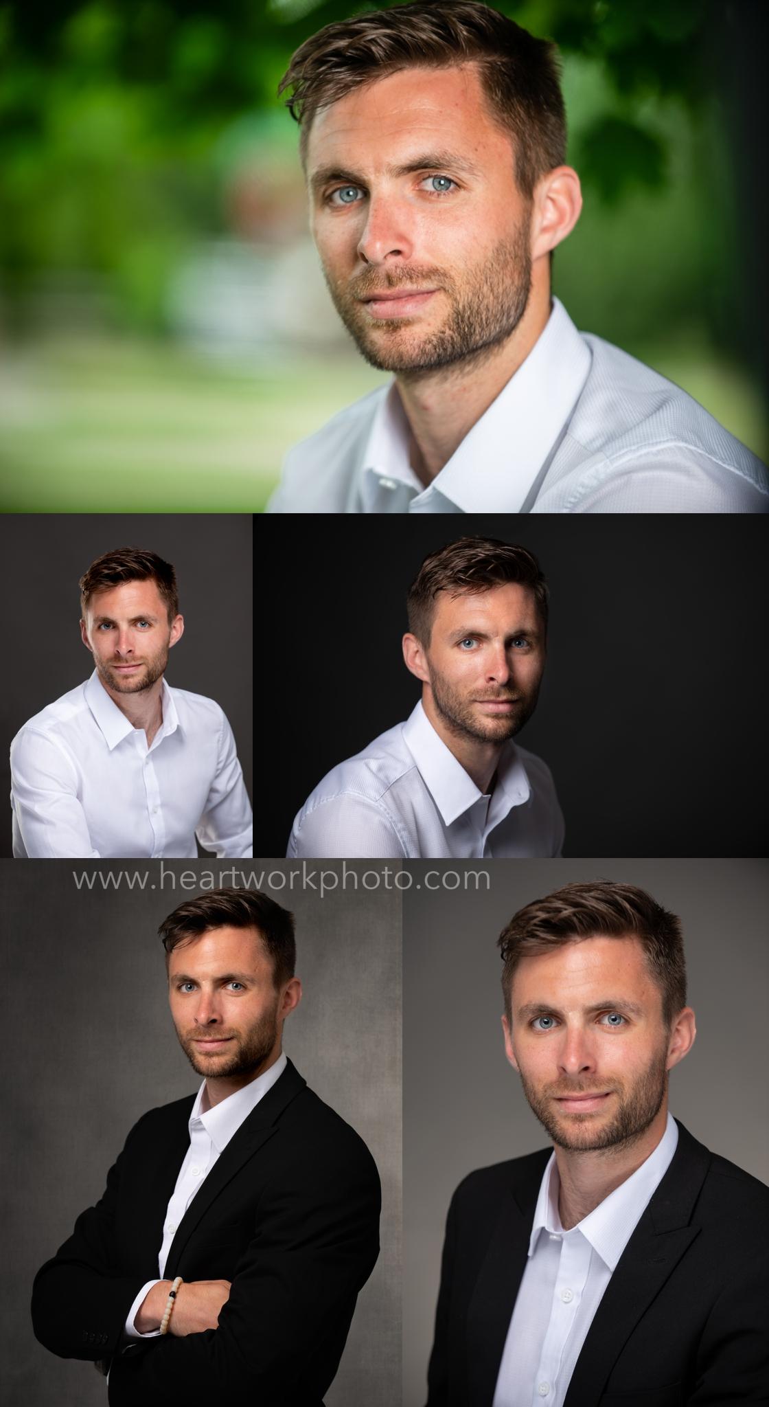 Men's head shot, studio and environmental.